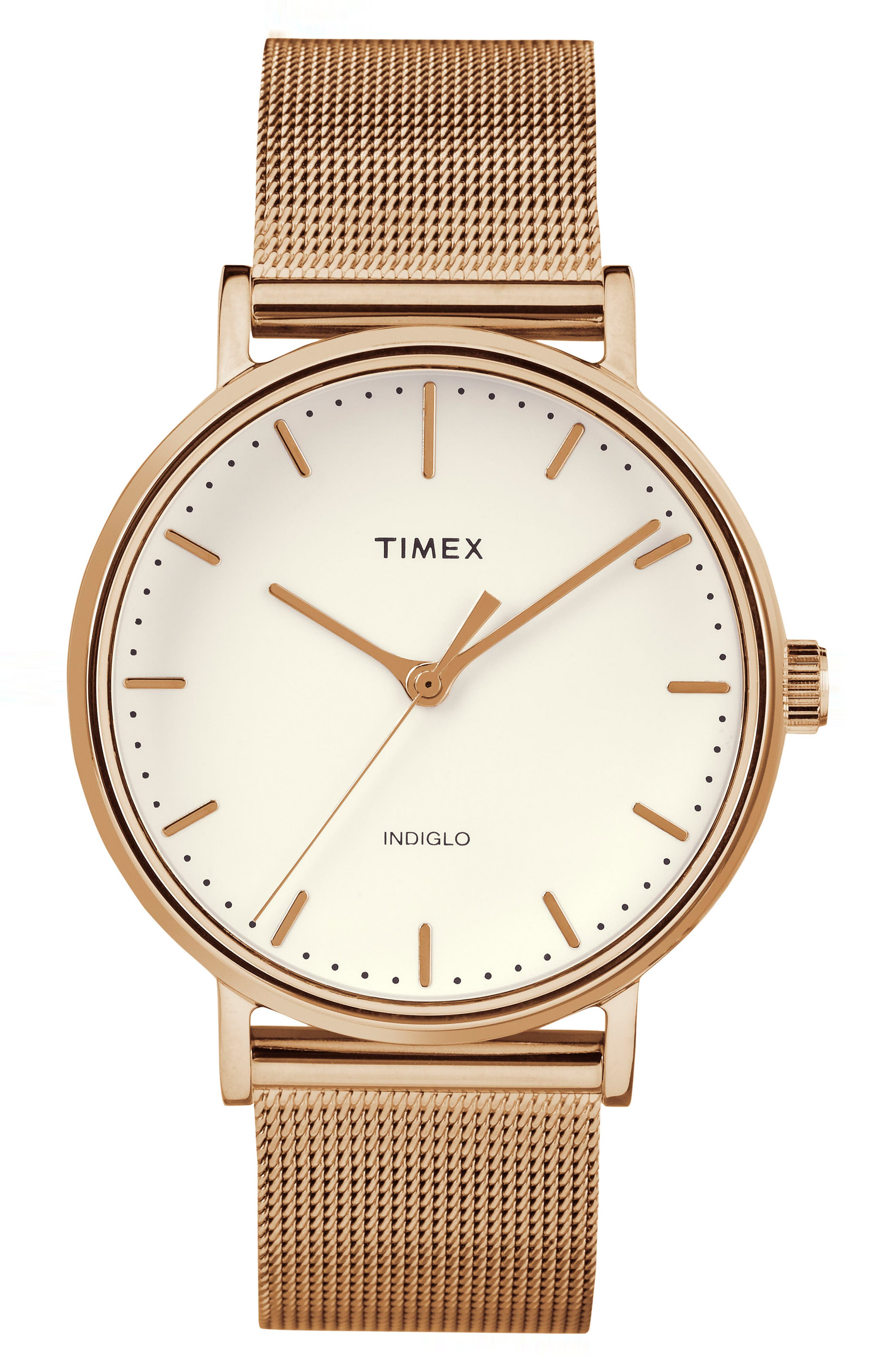 Fairfield Mesh Strap Watch, 37mm,                         Main,                         color, ROSE GOLD/ WHITE/ ROSE GOLD