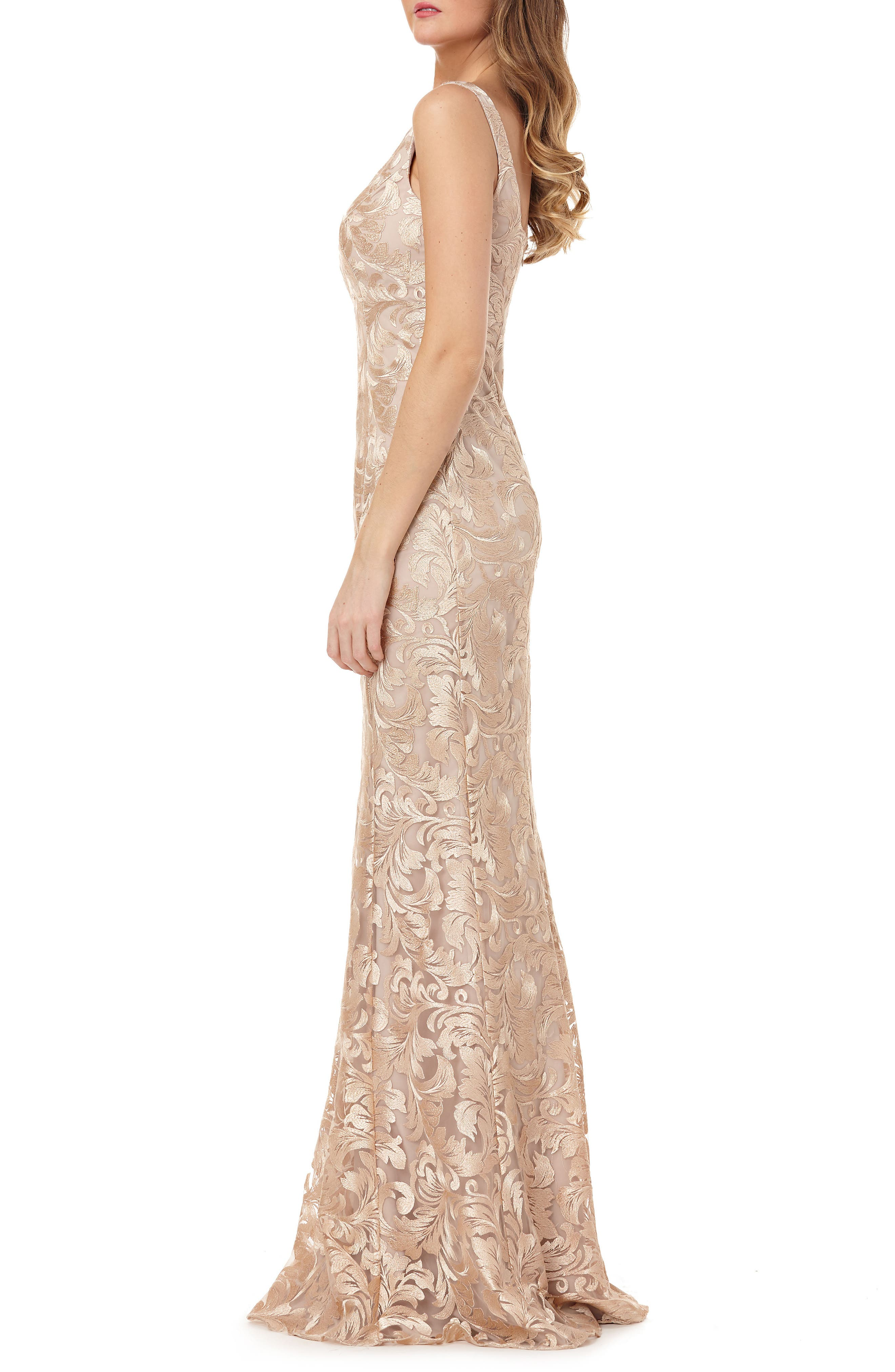 Sleeveless Metallic Embroidery Mermaid Gown,                             Alternate thumbnail 3, color,                             CHAMPAGNE