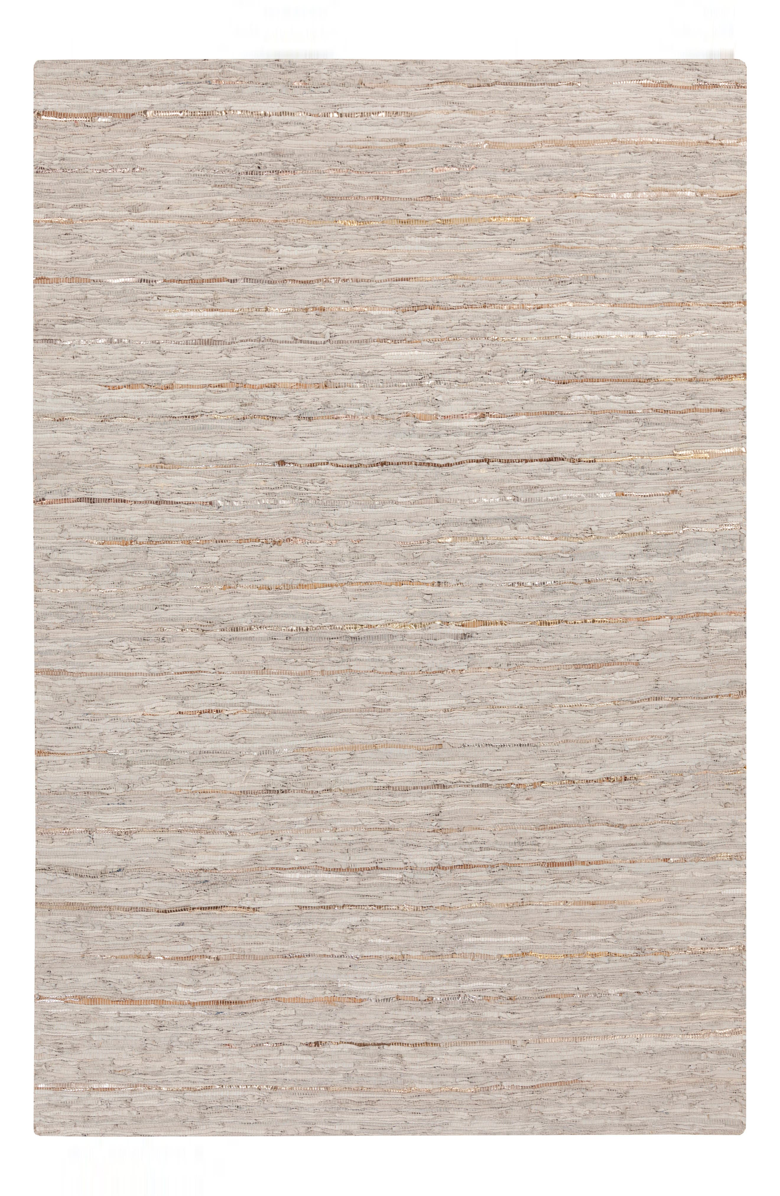 Anthracite Leather Rug,                         Main,                         color, GREY