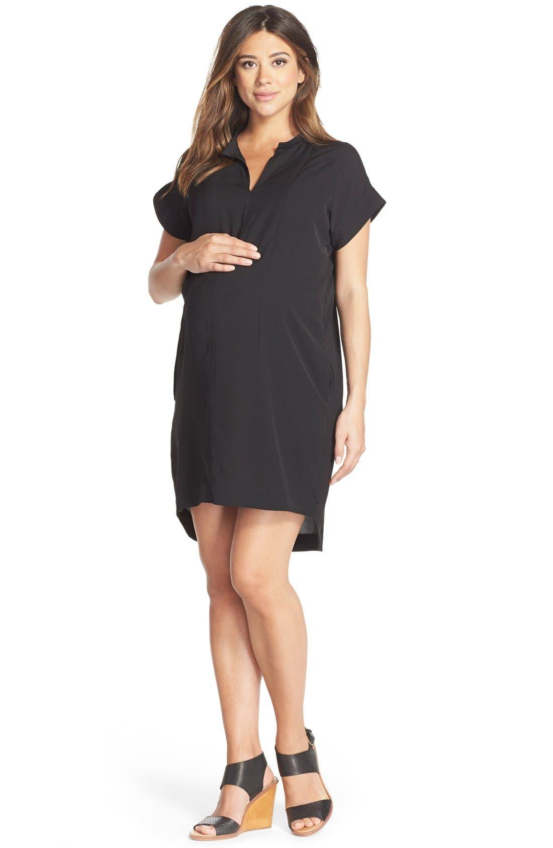 'Cybelle' Maternity/Nursing Shirtdress,                             Main thumbnail 1, color,                             BLACK