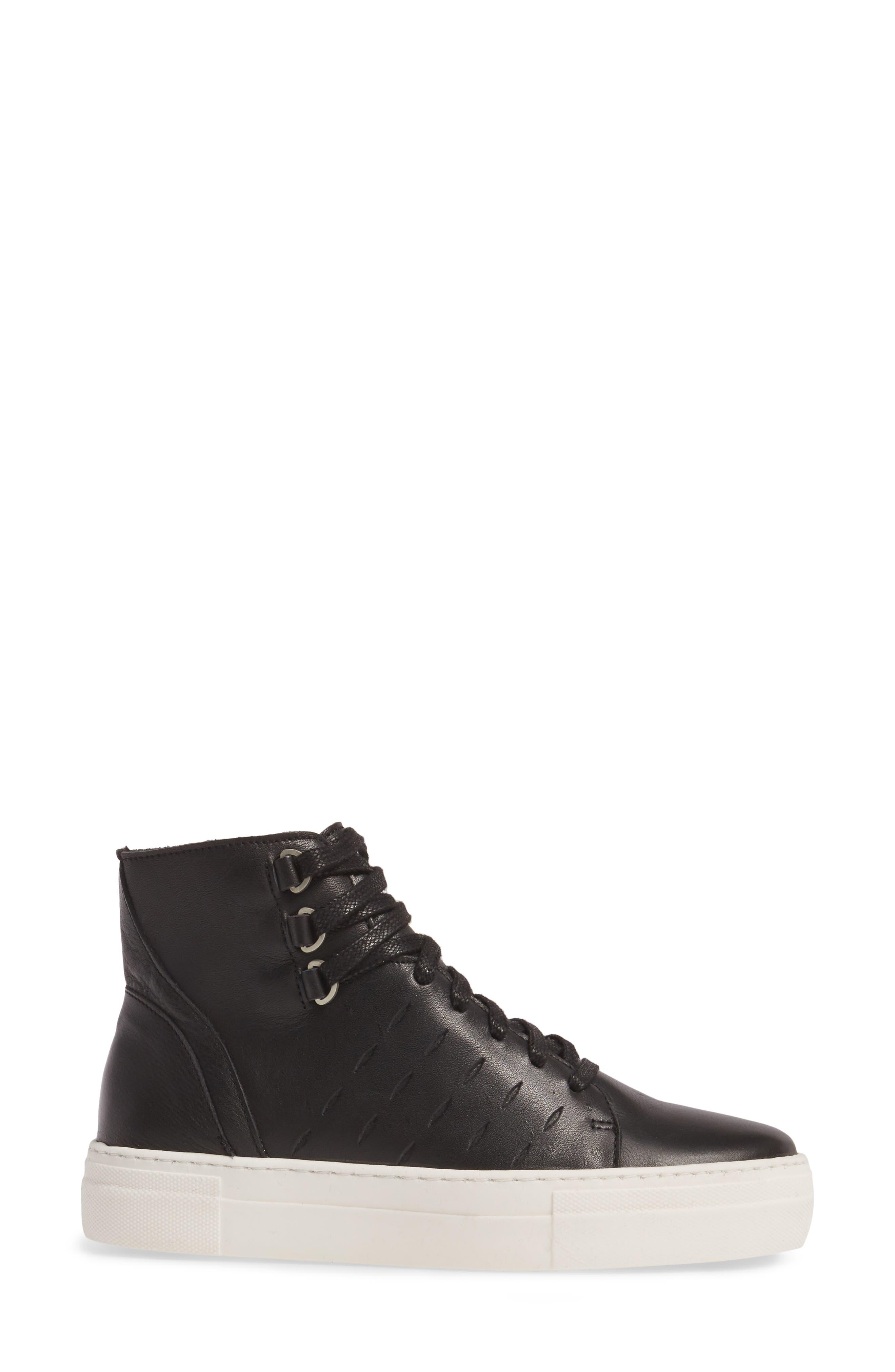 Modern High Top Sneaker,                             Alternate thumbnail 3, color,                             BLACK/ OFF WHITE