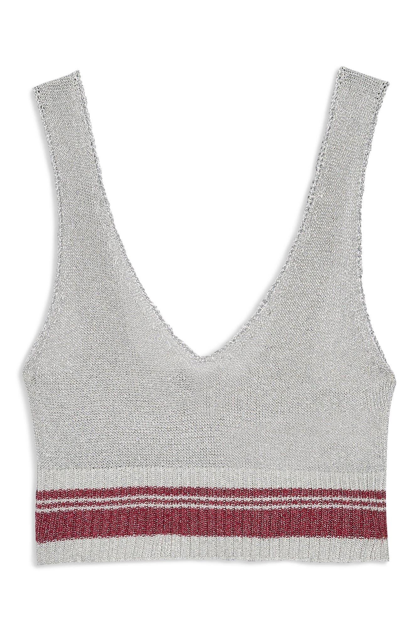 Metallic Knit Bralette,                             Alternate thumbnail 3, color,                             040