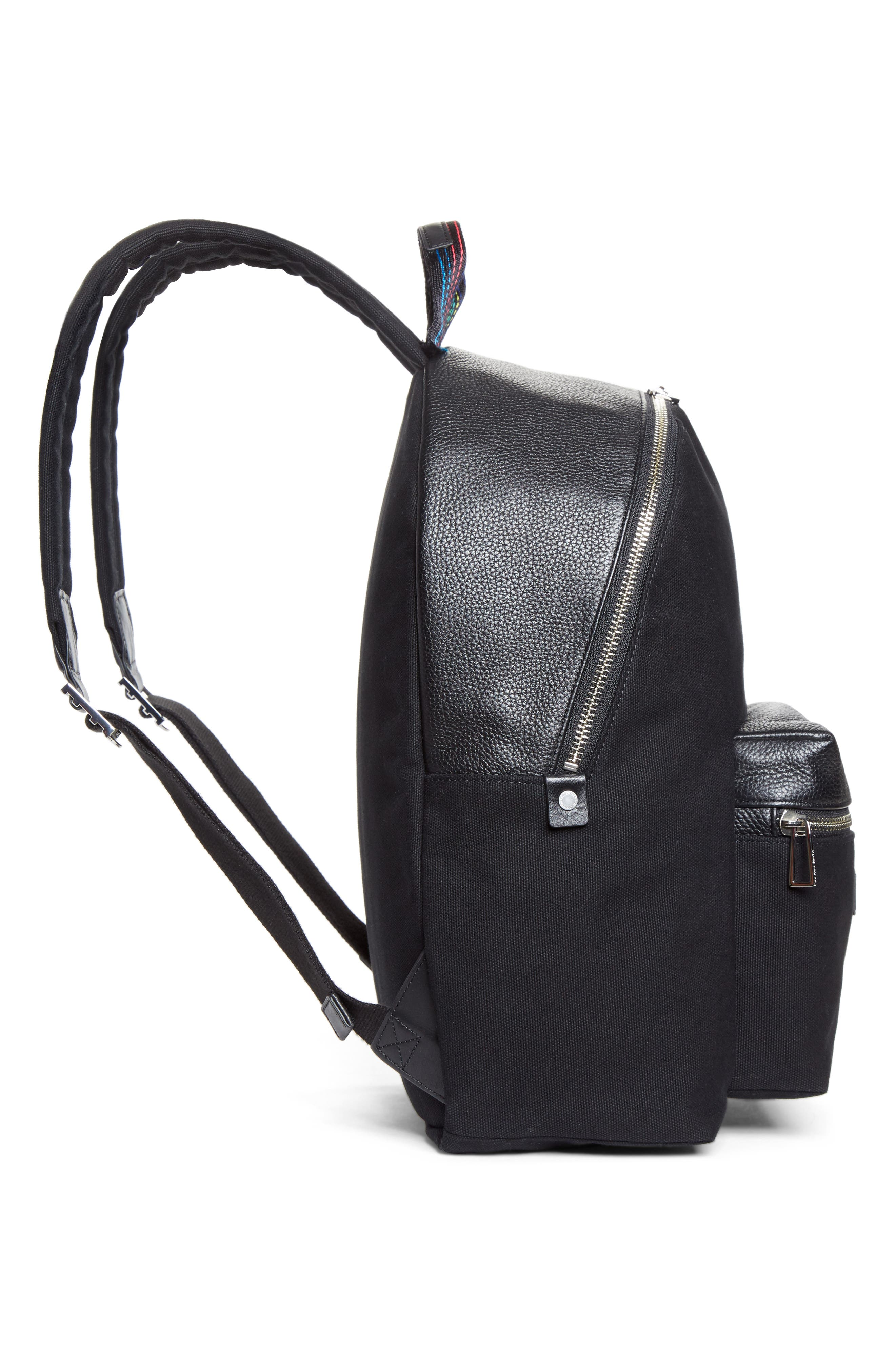 Leather Trim Canvas Backpack,                             Alternate thumbnail 4, color,                             001