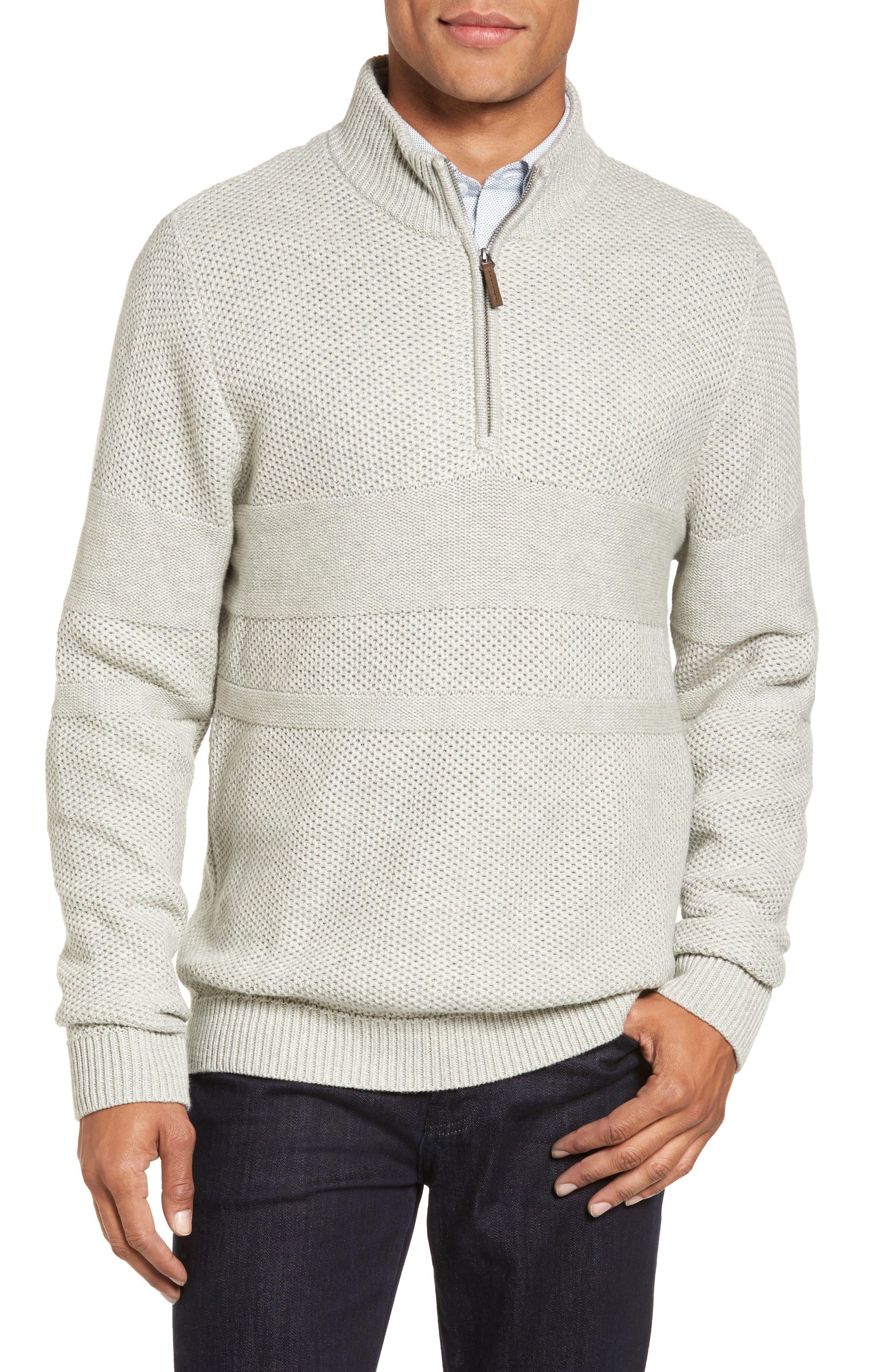 Texture Cotton & Cashmere Quarter Zip Sweater,                             Alternate thumbnail 2, color,                             050