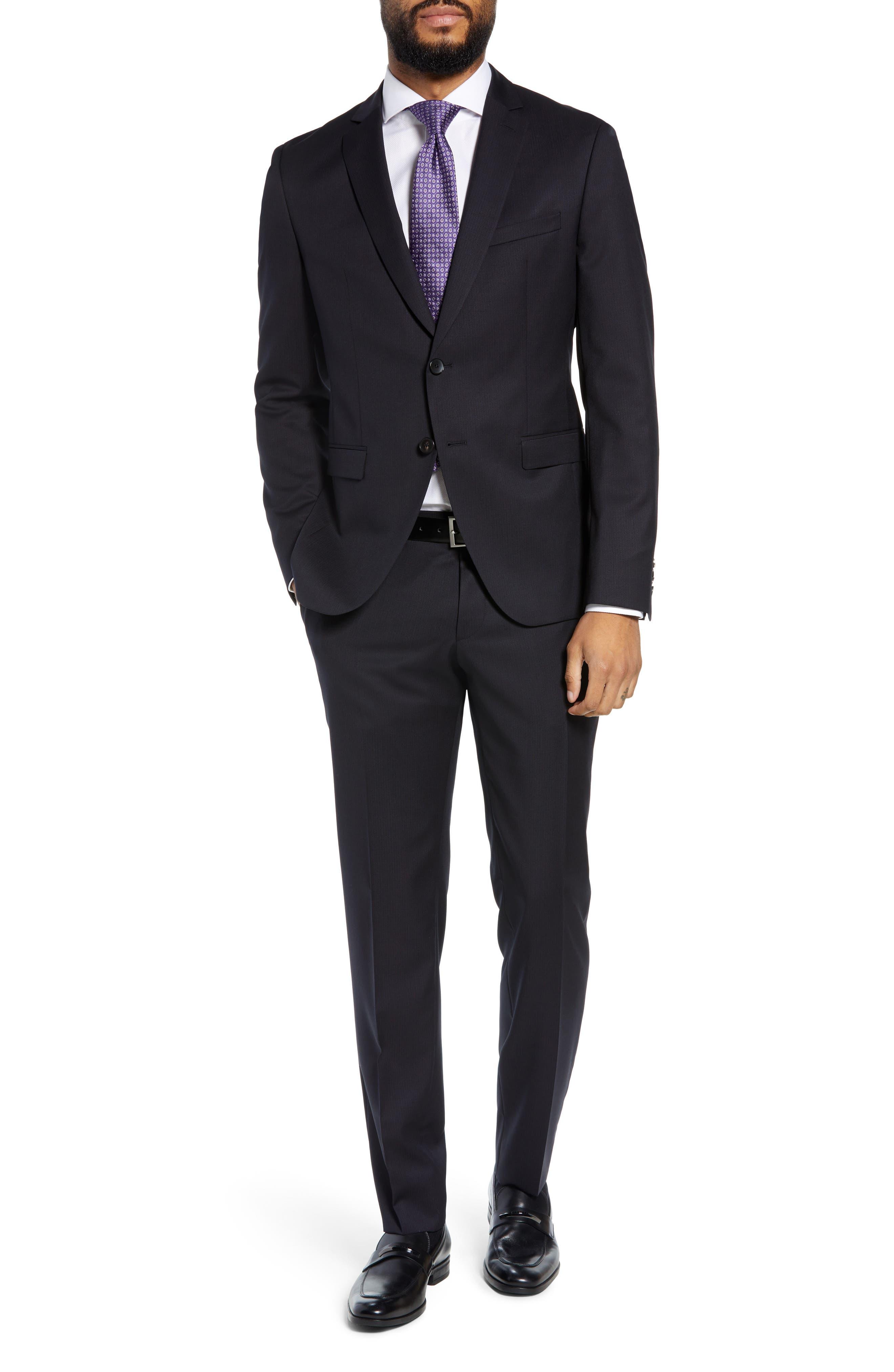 Reymond/Wenten Extra Trim Fit Solid Wool Suit,                         Main,                         color, DARK PURPLE