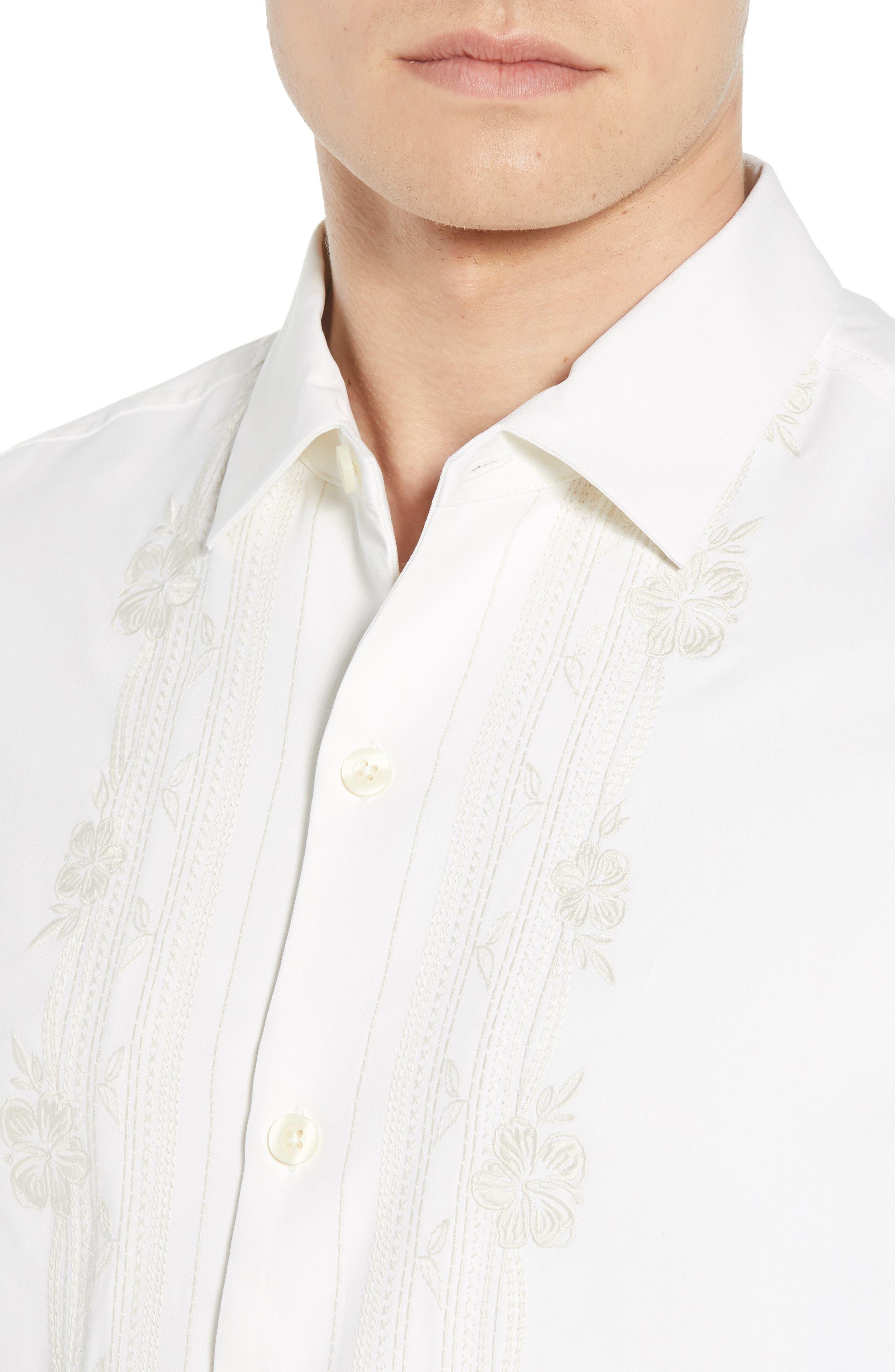 Cambio Tiles Silk Camp Shirt,                             Alternate thumbnail 8, color,