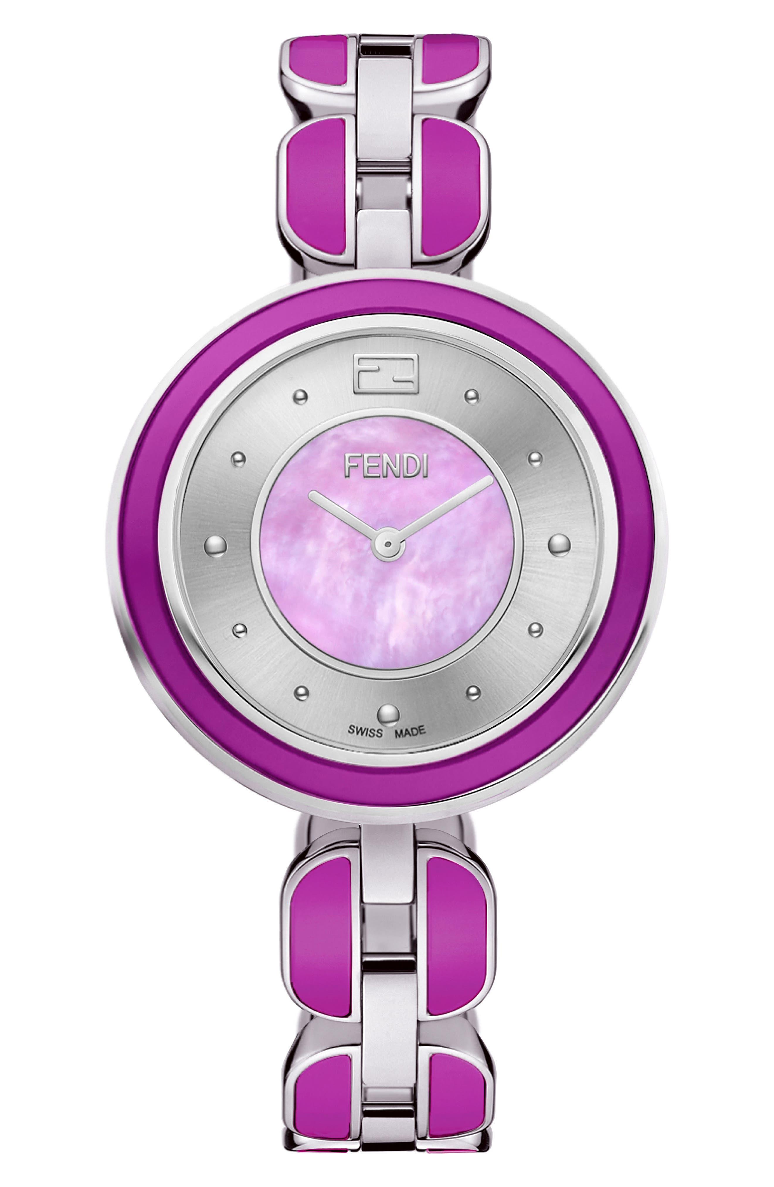 My Way Genuine Fox Fur Bracelet Watch, 36mm,                             Main thumbnail 1, color,                             SILVER/ MOP/ PURPLE