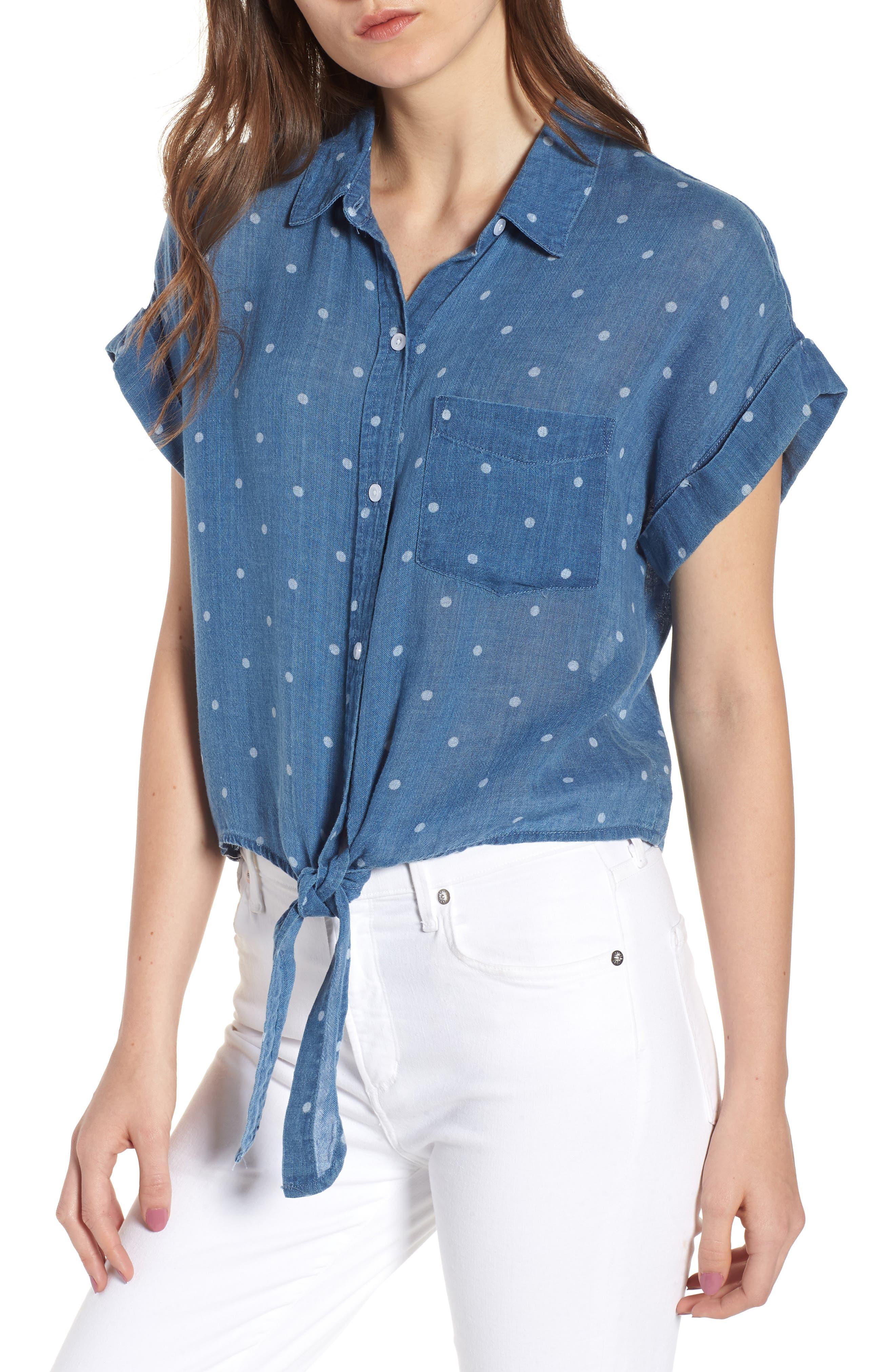 Amelie Tie Front Shirt,                             Main thumbnail 1, color,                             INDIGO WHITE POLKA DOTS