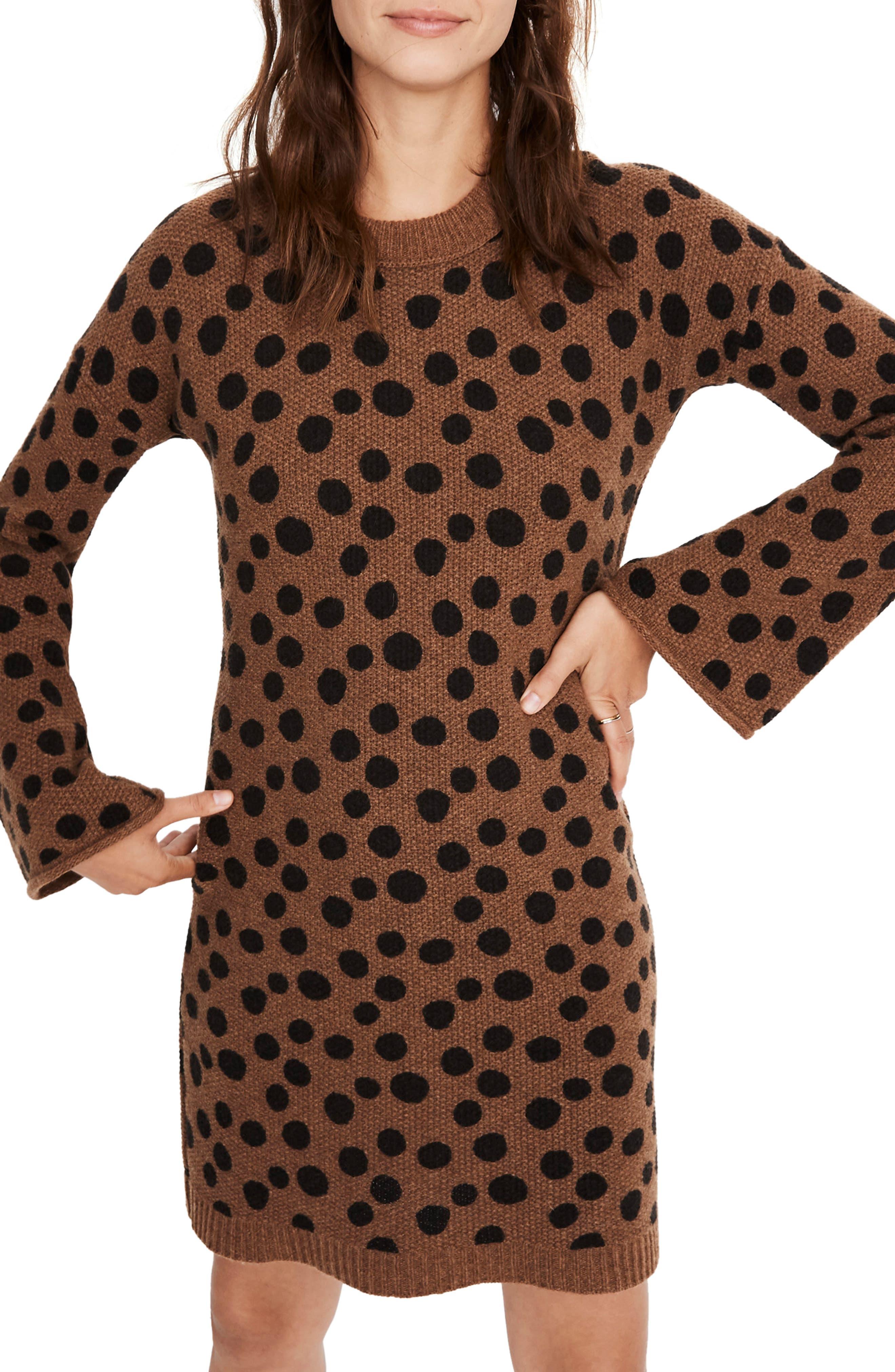 Madewell Leopard Dot Sweater Dress, Brown