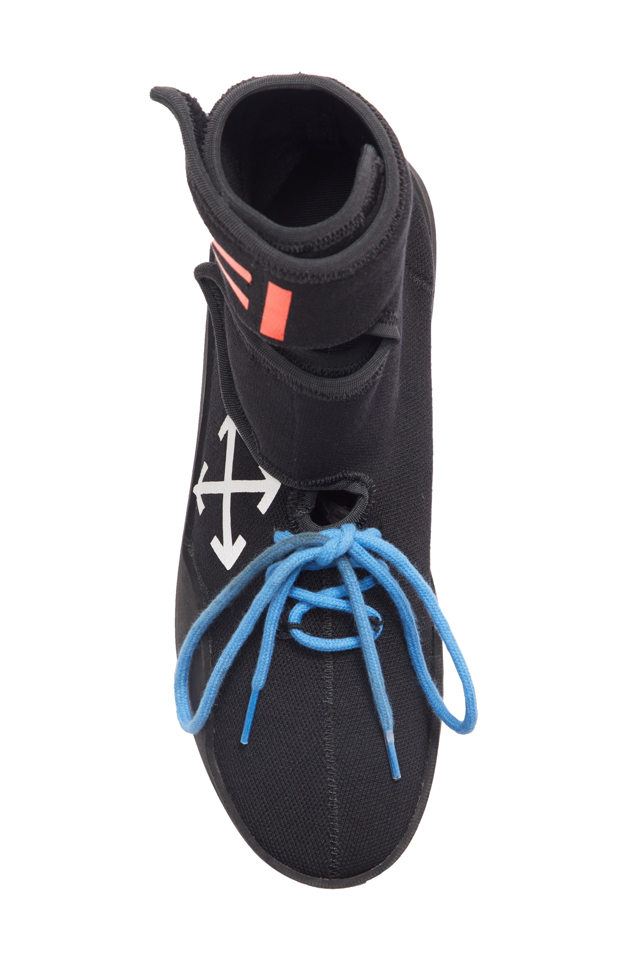 Moto Wrap Sneaker,                             Alternate thumbnail 5, color,                             BLACK WHITE