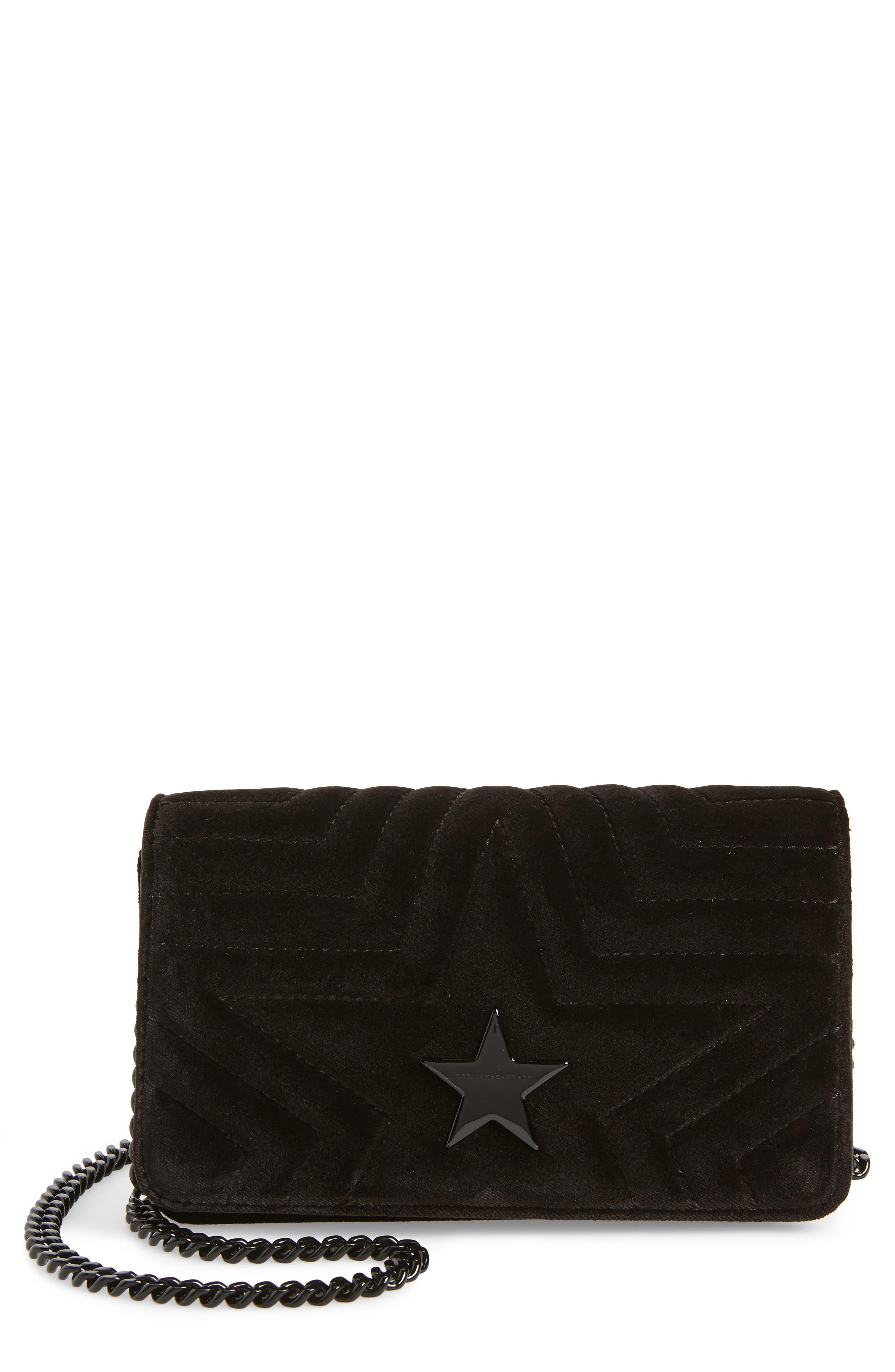 Mini Velvet Star Crossbody Bag, Main, color, 001