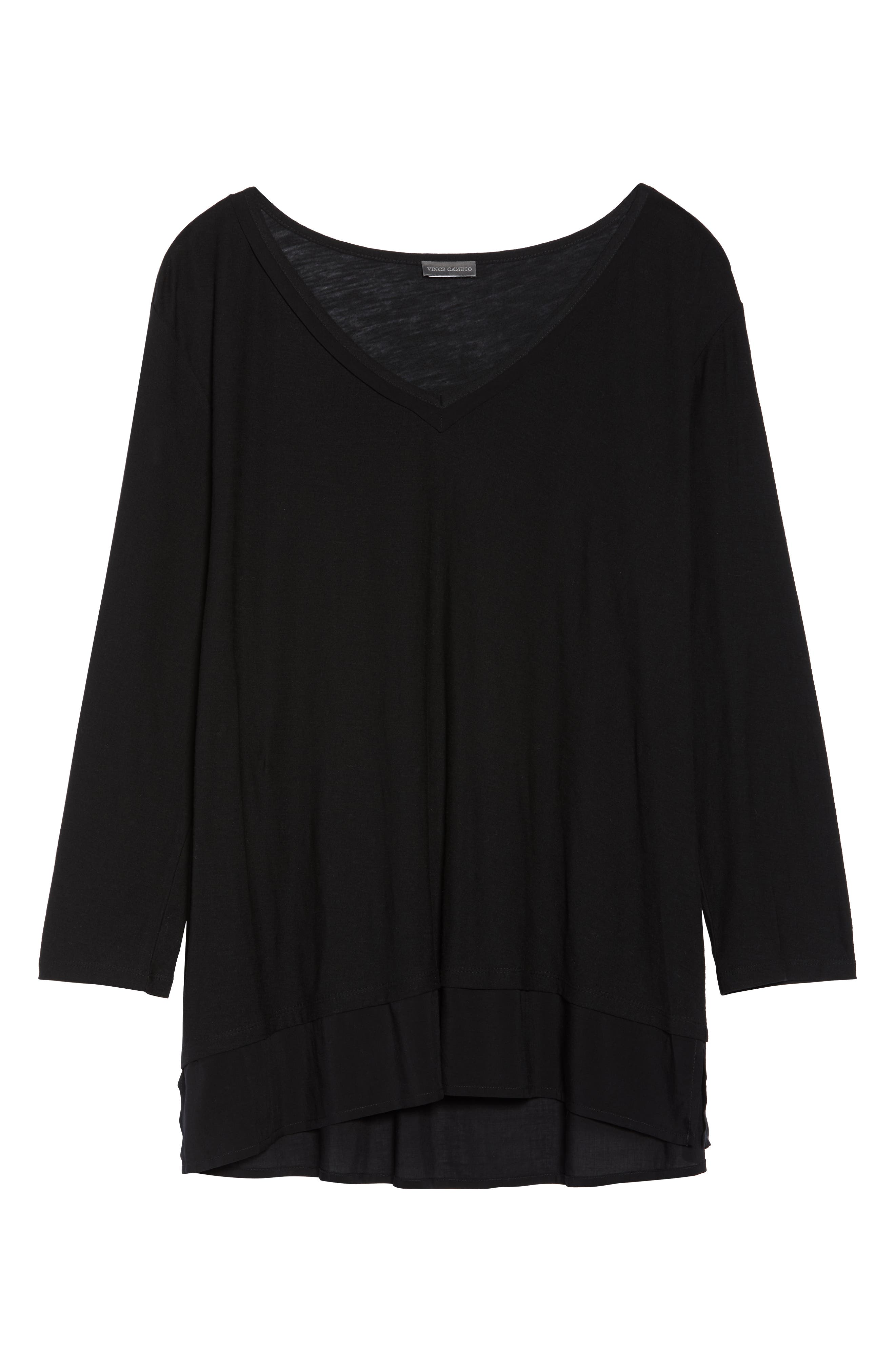 Woven Hem Layered Top,                             Alternate thumbnail 6, color,                             RICH BLACK