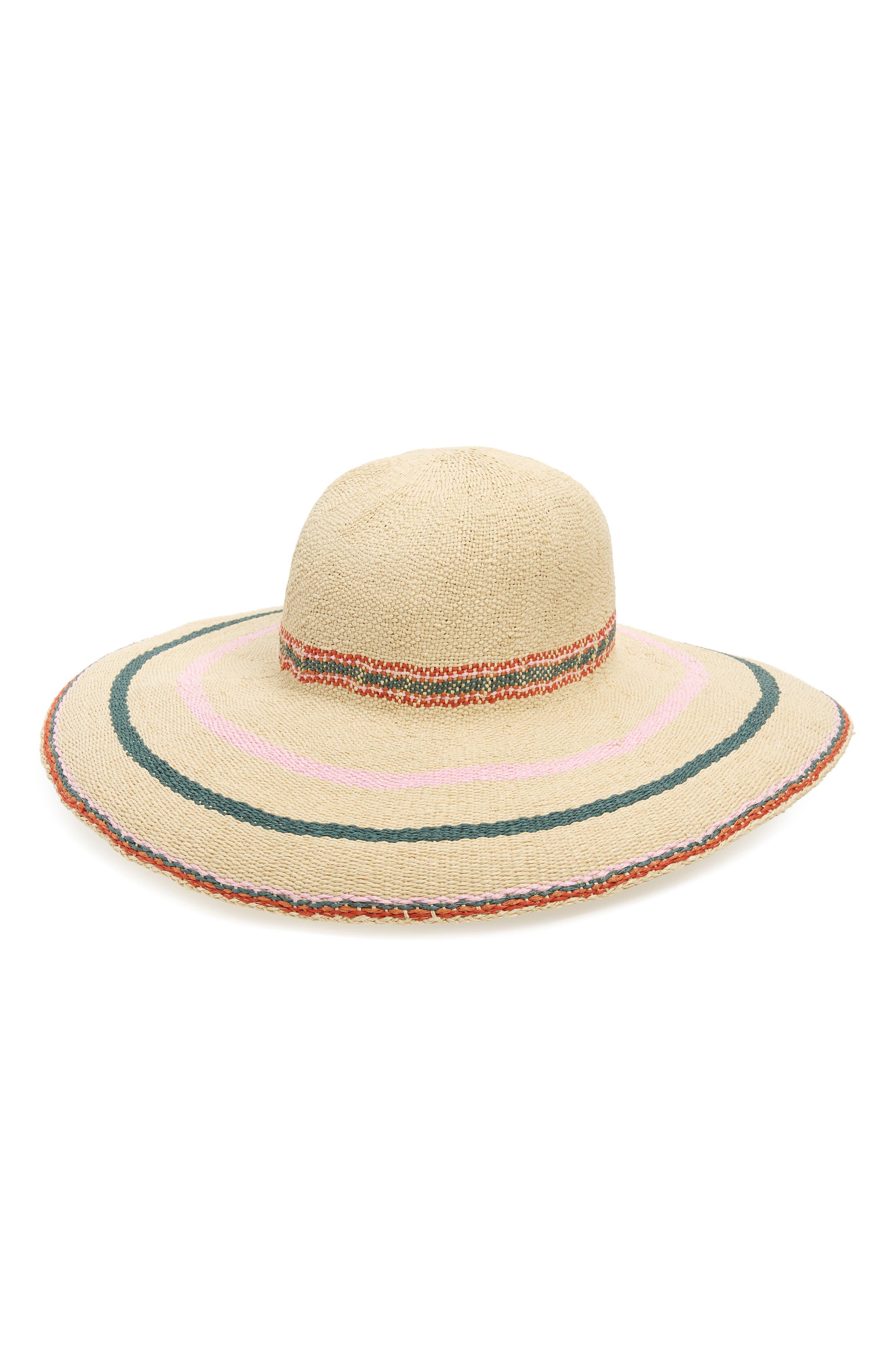 x Biltmore Tulum Stripe Straw Hat,                         Main,                         color, MULTI STRIPE