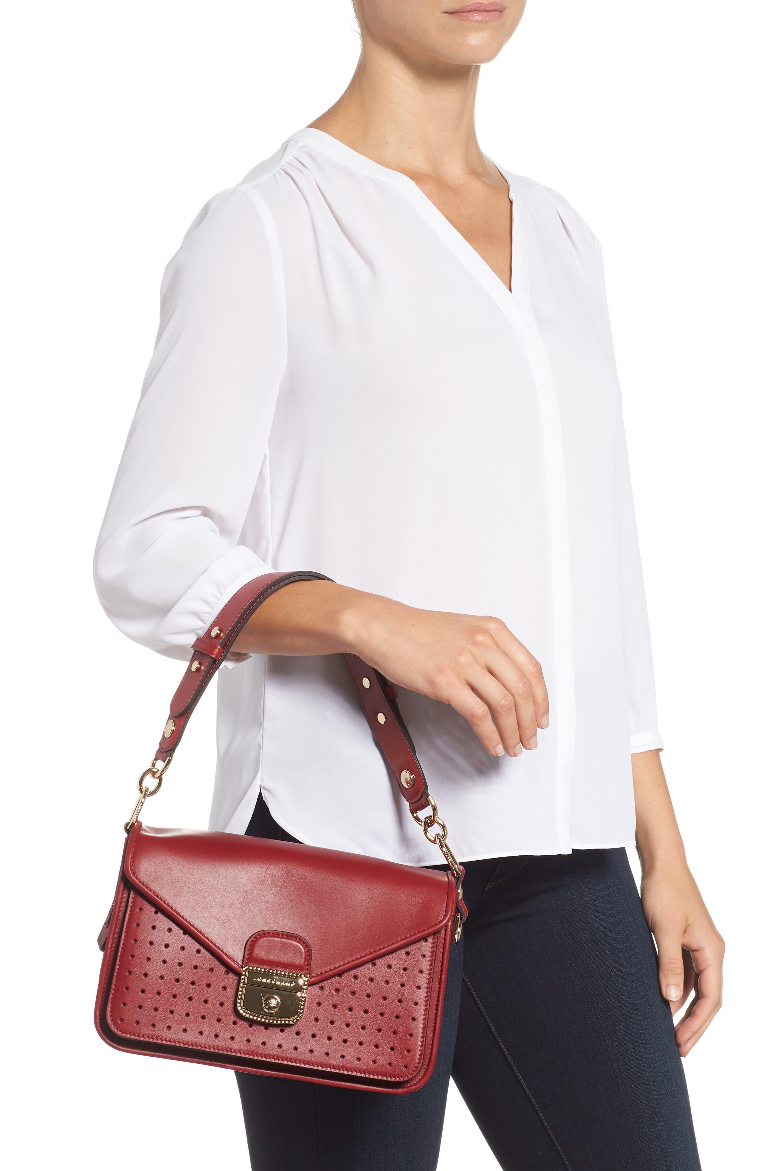 Mademoiselle Calfskin Leather Crossbody Bag,                             Alternate thumbnail 2, color,                             GARNET RED
