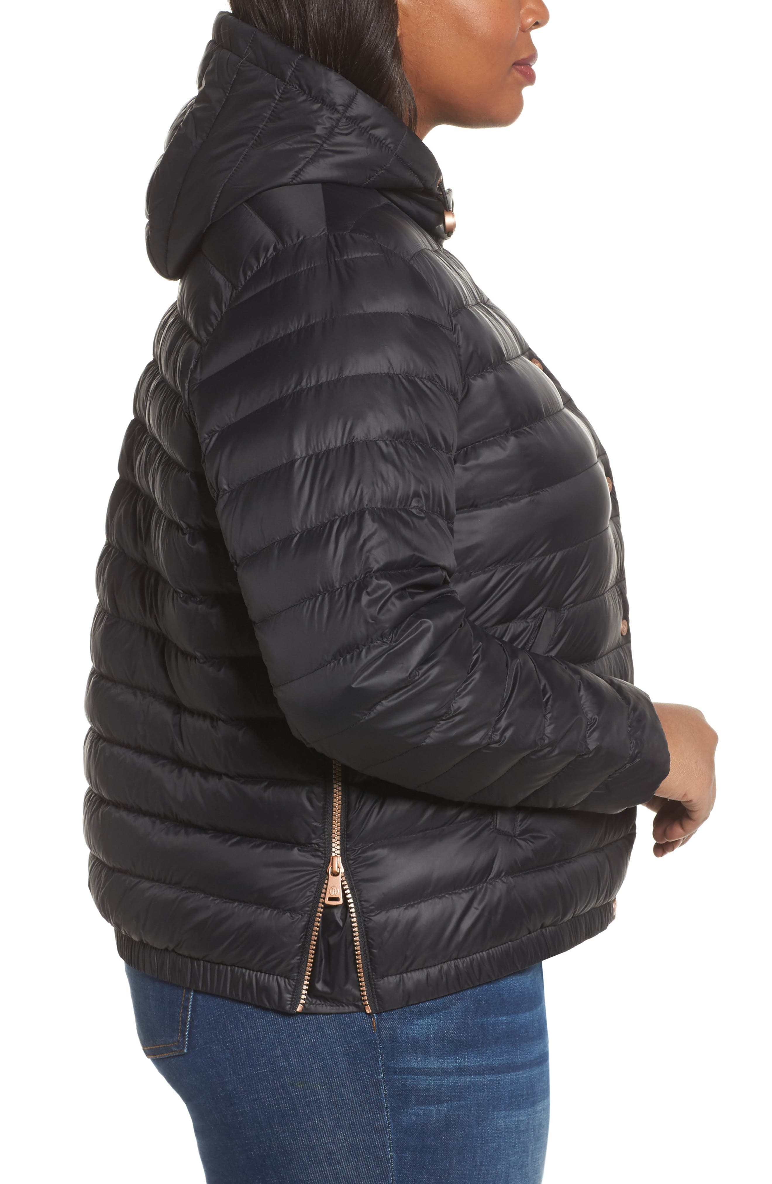 Water Resistant Insulated Hooded Bomber Jacket,                             Alternate thumbnail 3, color,                             001