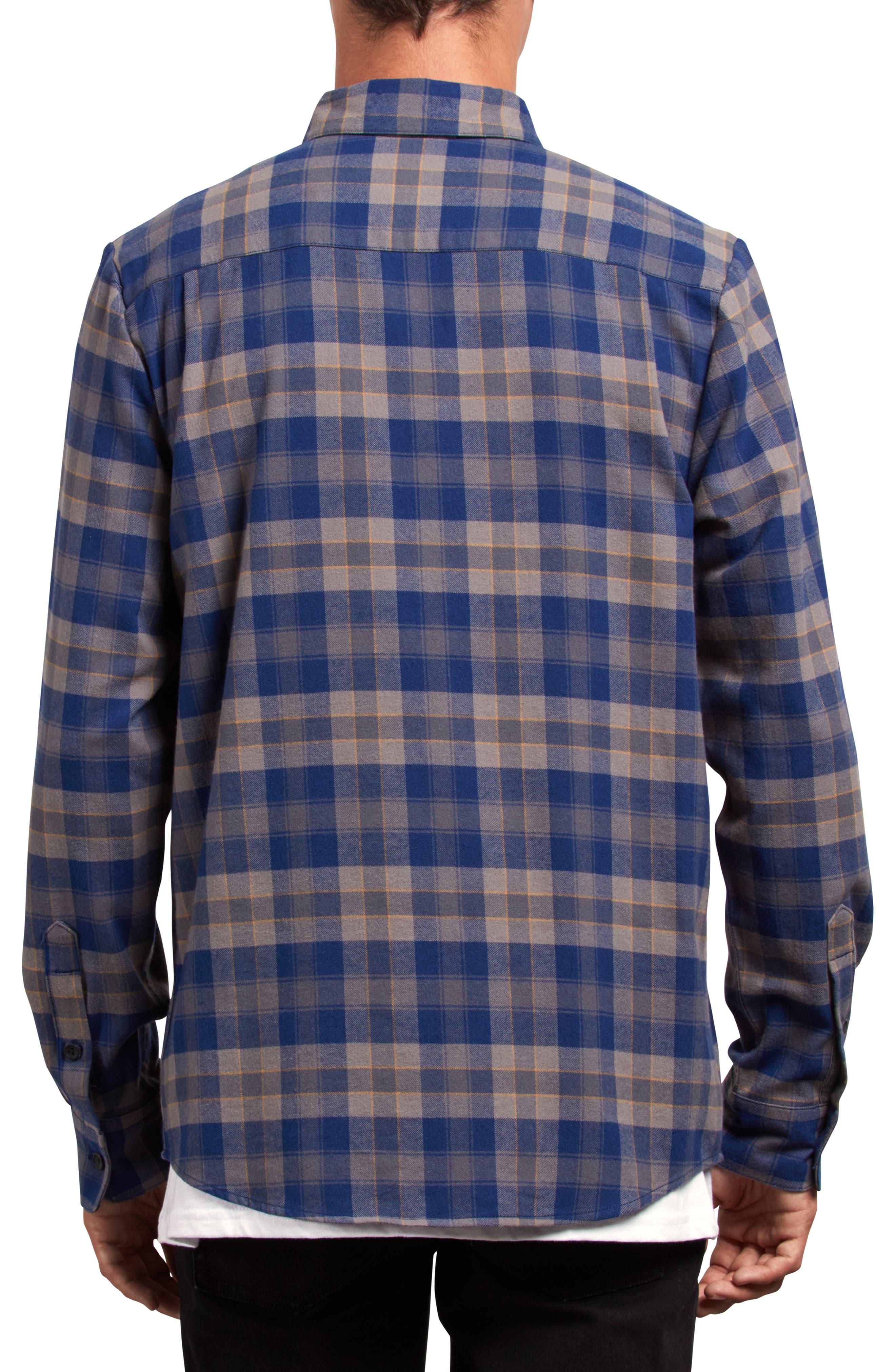 Caden Plaid Flannel Shirt,                             Alternate thumbnail 2, color,                             MEDIUM BLUE