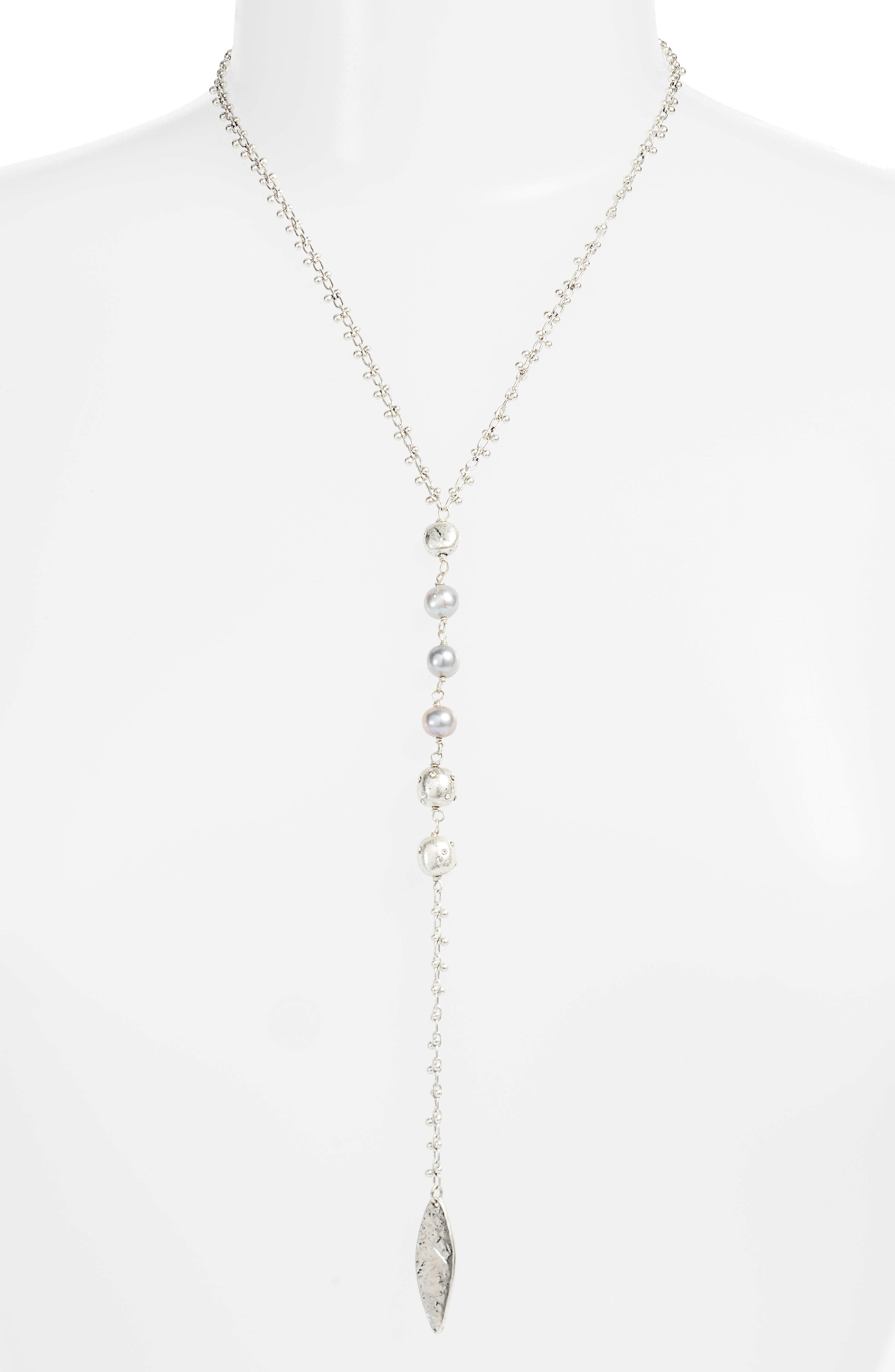 Freshwater Pearl Y-Shape Necklace,                             Main thumbnail 1, color,