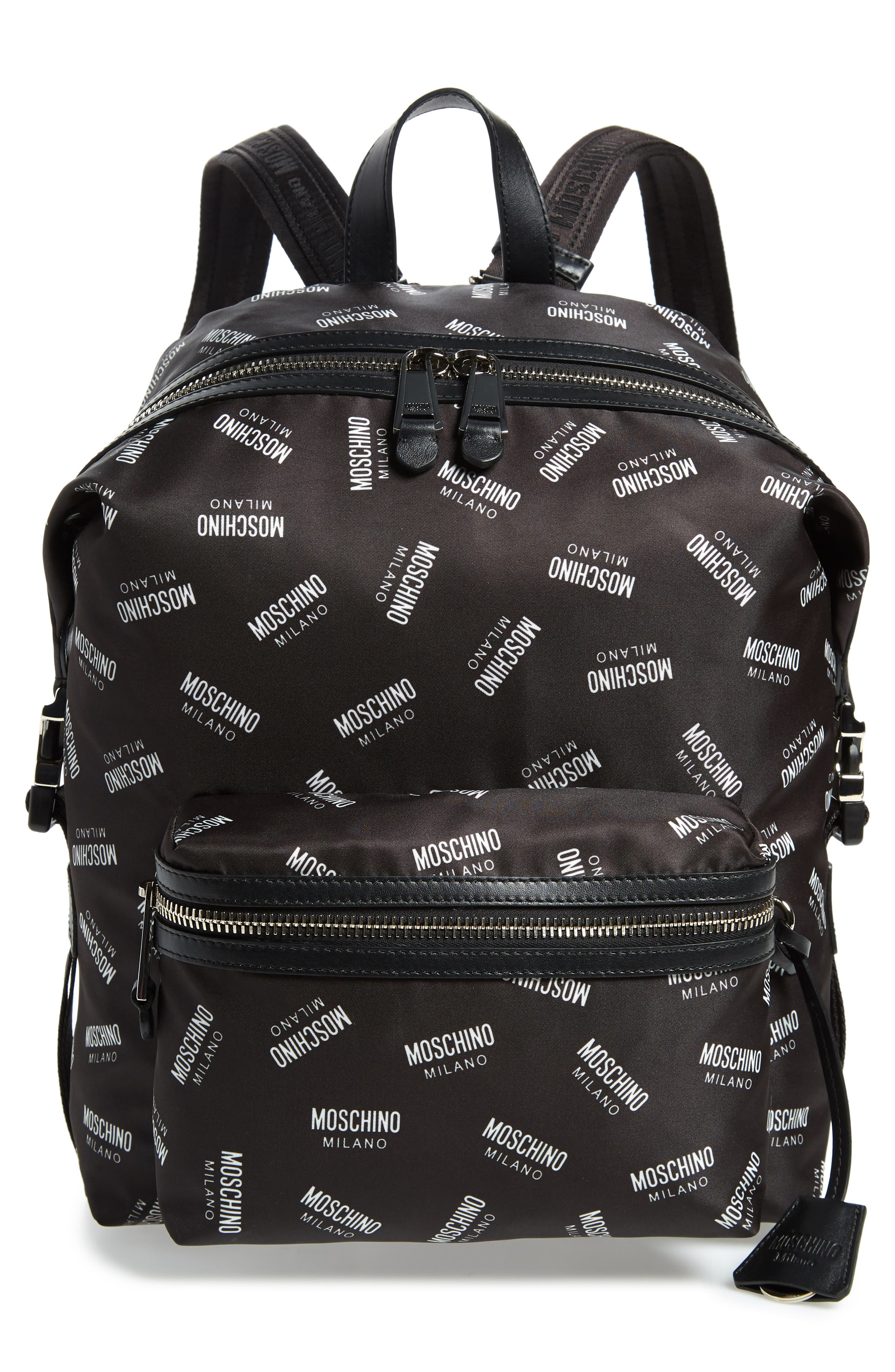 MOSCHINO Allover Logo Print Backpack, Main, color, BLACK