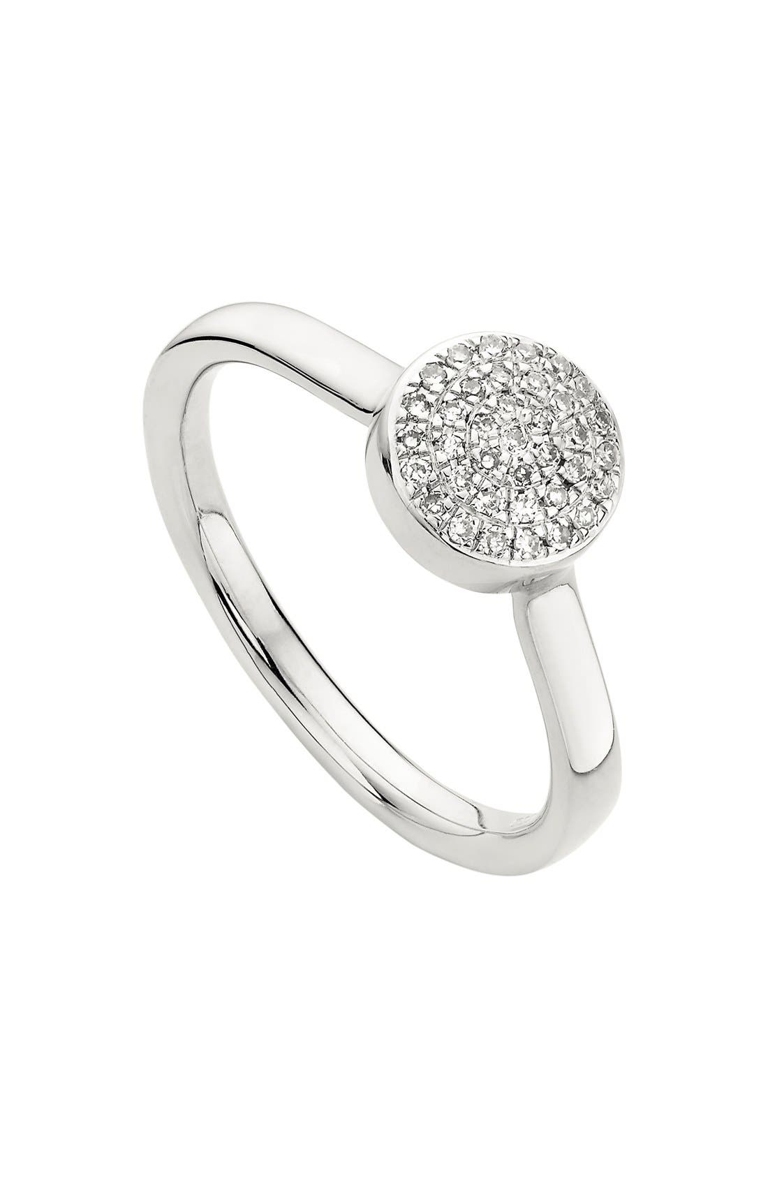 'Ava' Diamond Button Ring,                             Main thumbnail 1, color,                             SILVER
