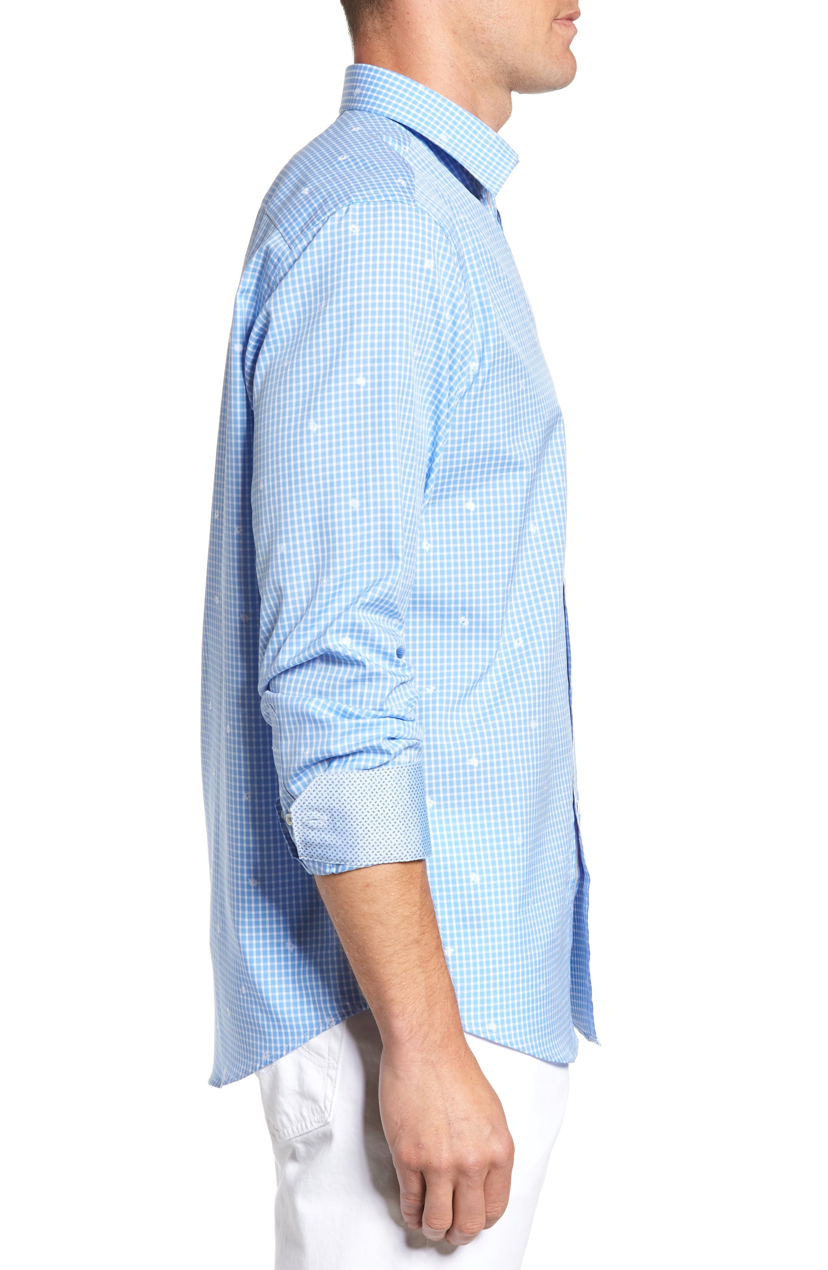 Classic Fit Windowpane Sport Shirt,                             Alternate thumbnail 3, color,