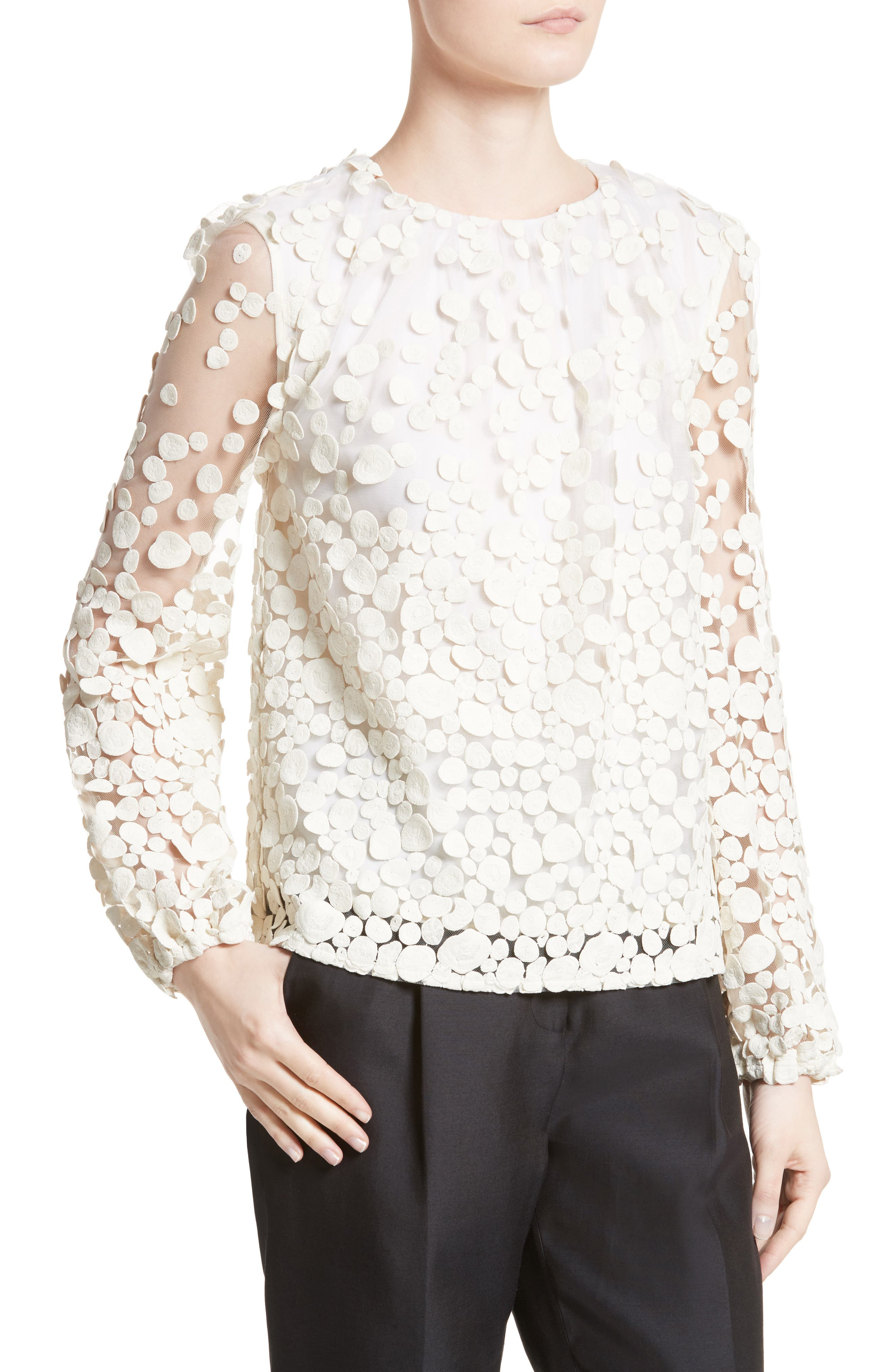 Pebbles Embroidered Mesh Peasant Top,                             Alternate thumbnail 4, color,                             900