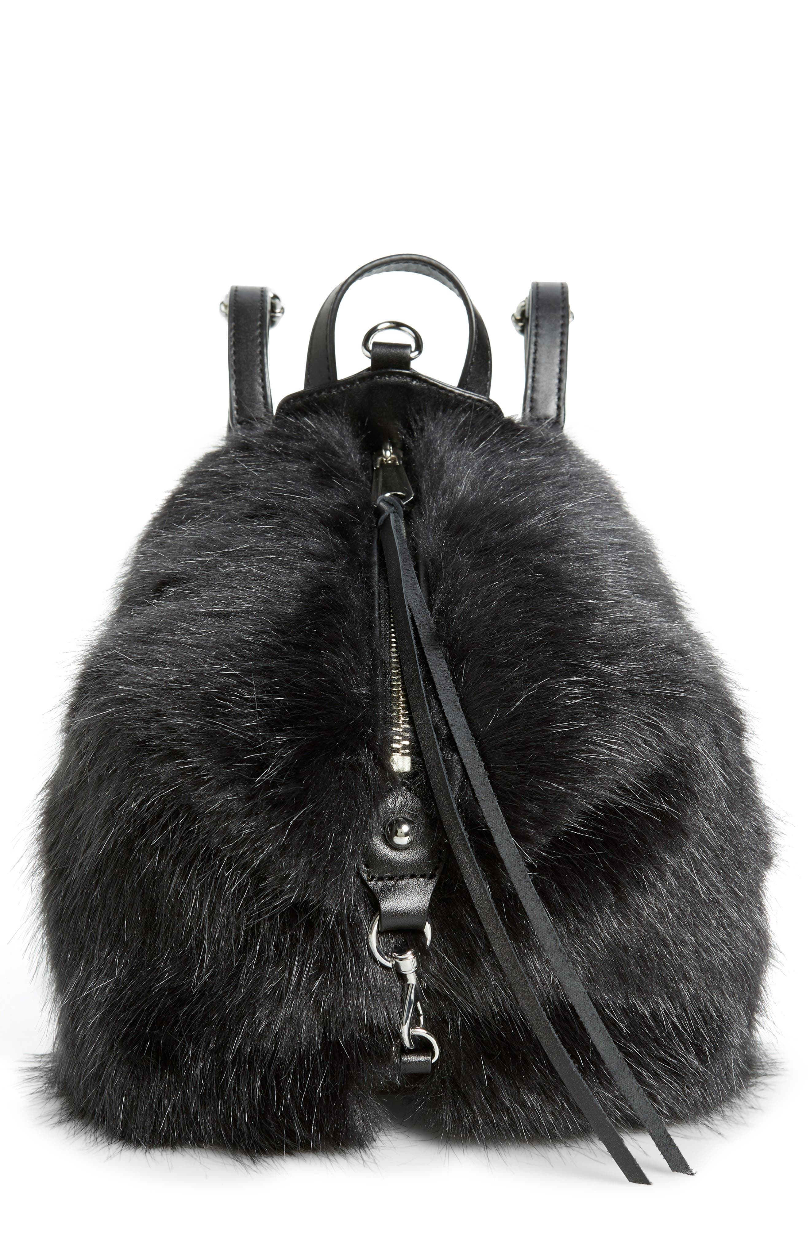 Mini Julian Faux Fur Backpack,                             Main thumbnail 1, color,                             BLACK