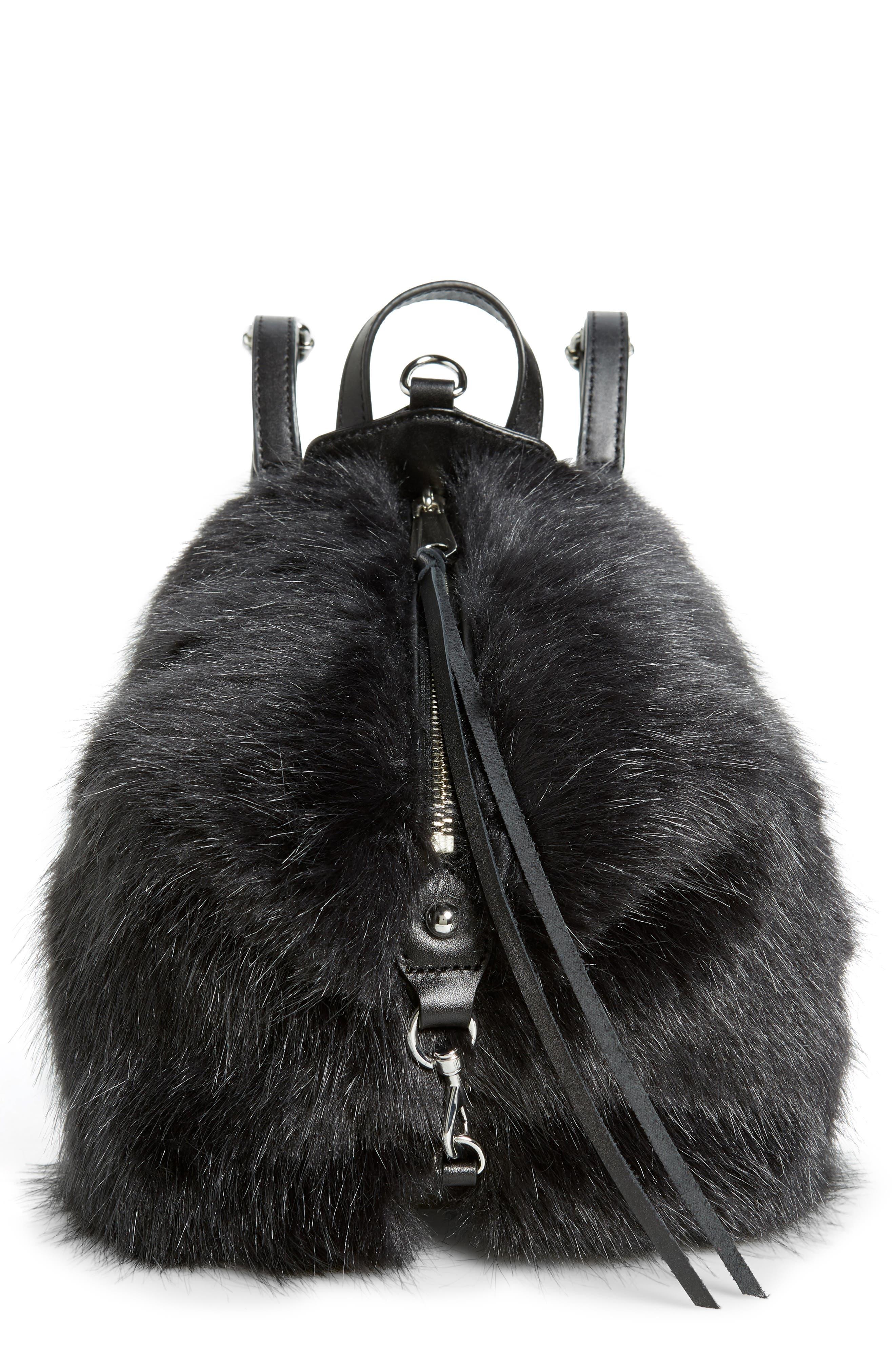 Mini Julian Faux Fur Backpack,                         Main,                         color, BLACK