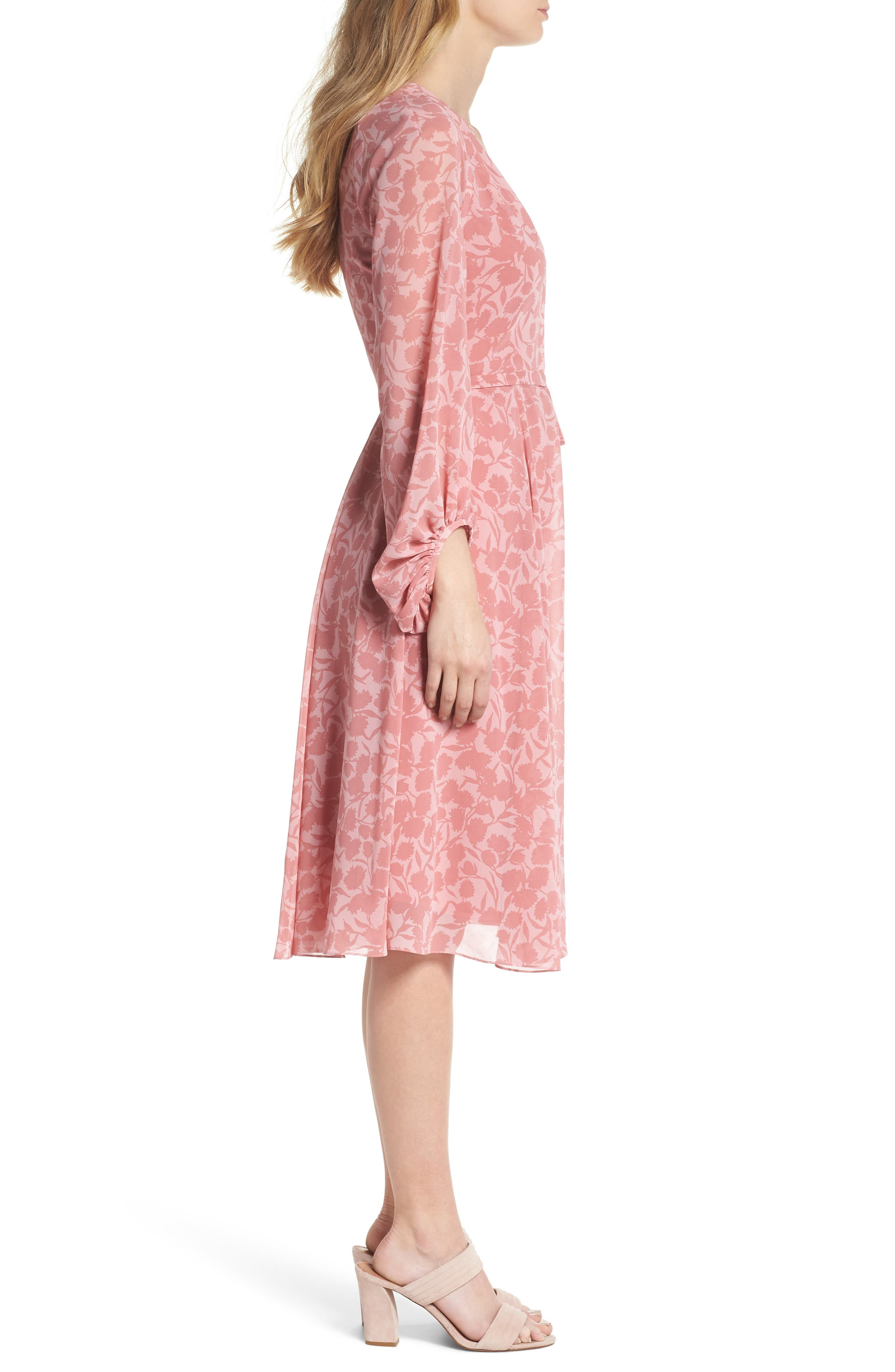 GAL MEETS GLAM COLLECTION,                             Esther Shadow Branch Chiffon Dress,                             Alternate thumbnail 4, color,                             690