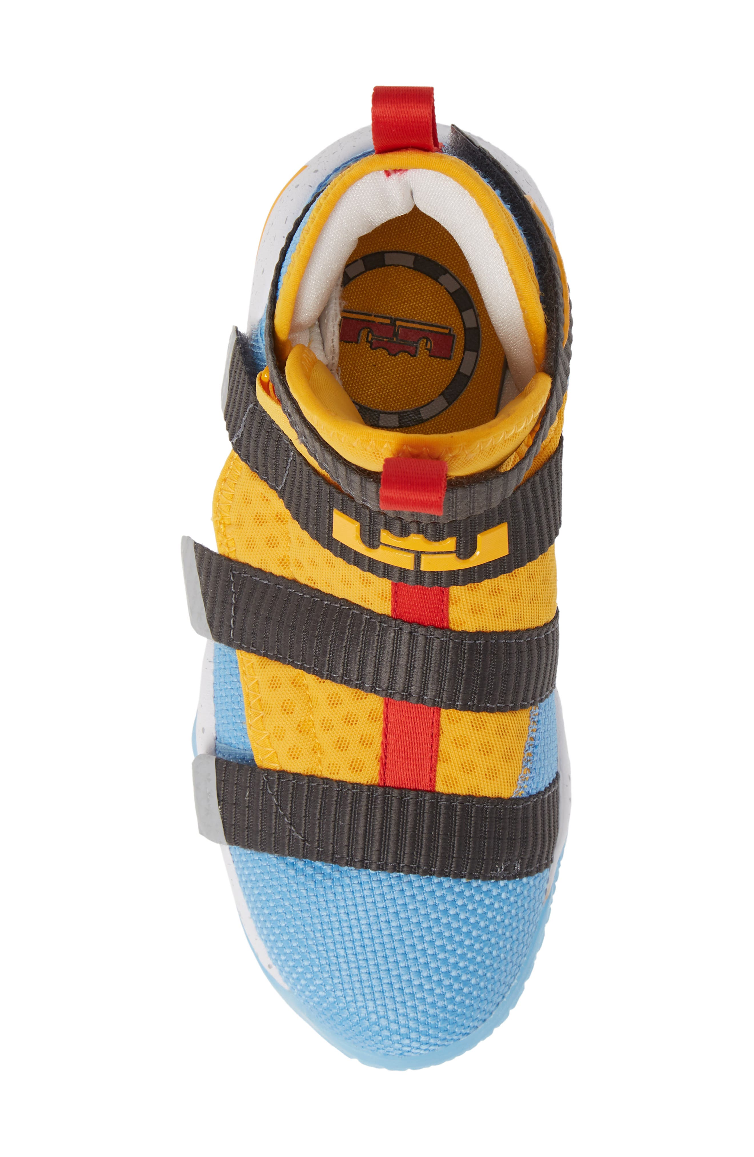 LeBron Soldier XI FlyEase High Top Sneaker,                             Alternate thumbnail 5, color,                             UNIVERSITY GOLD/ WHITE-RED