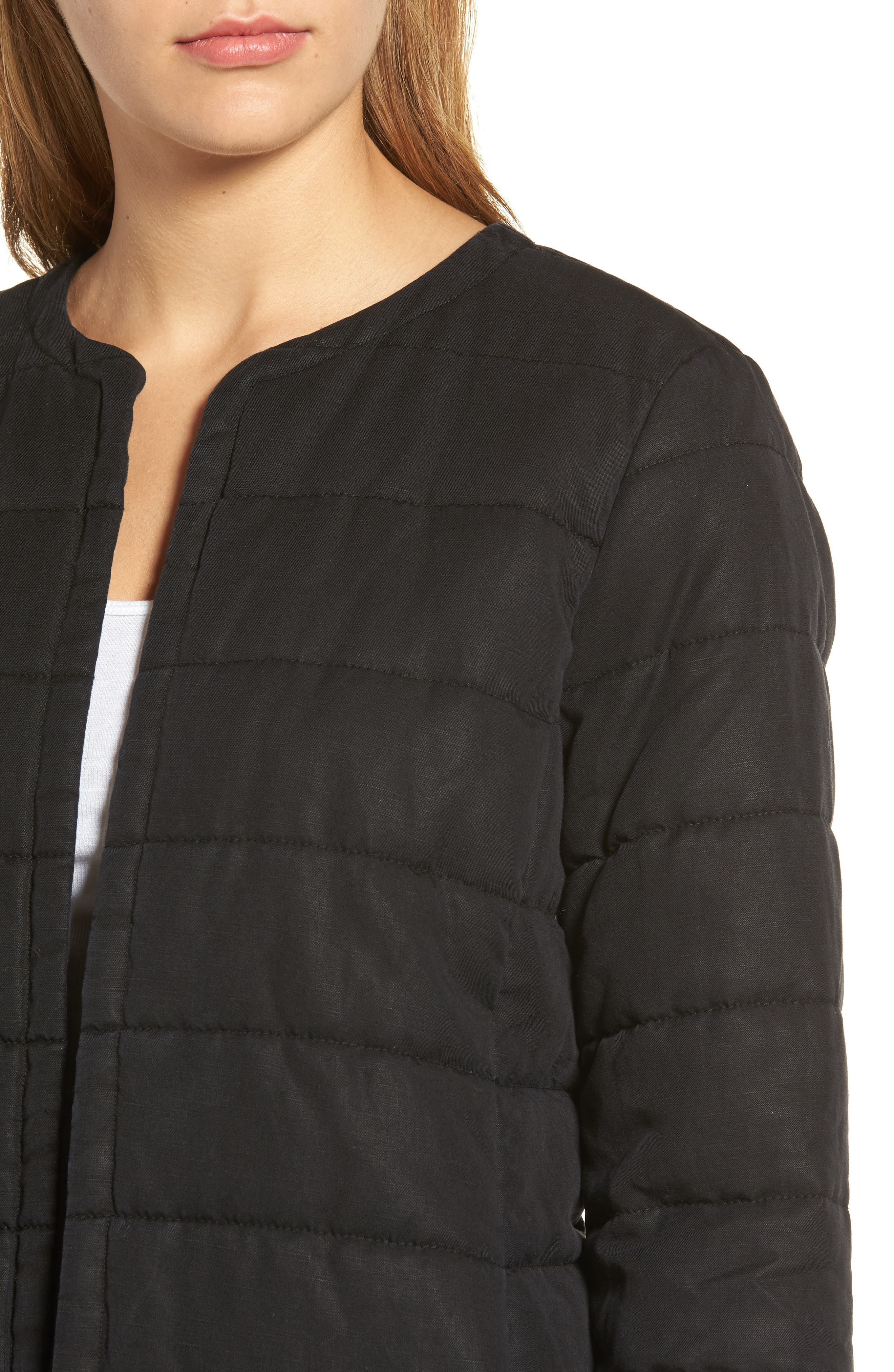 Collarless Quilted Jacket,                             Alternate thumbnail 4, color,                             001