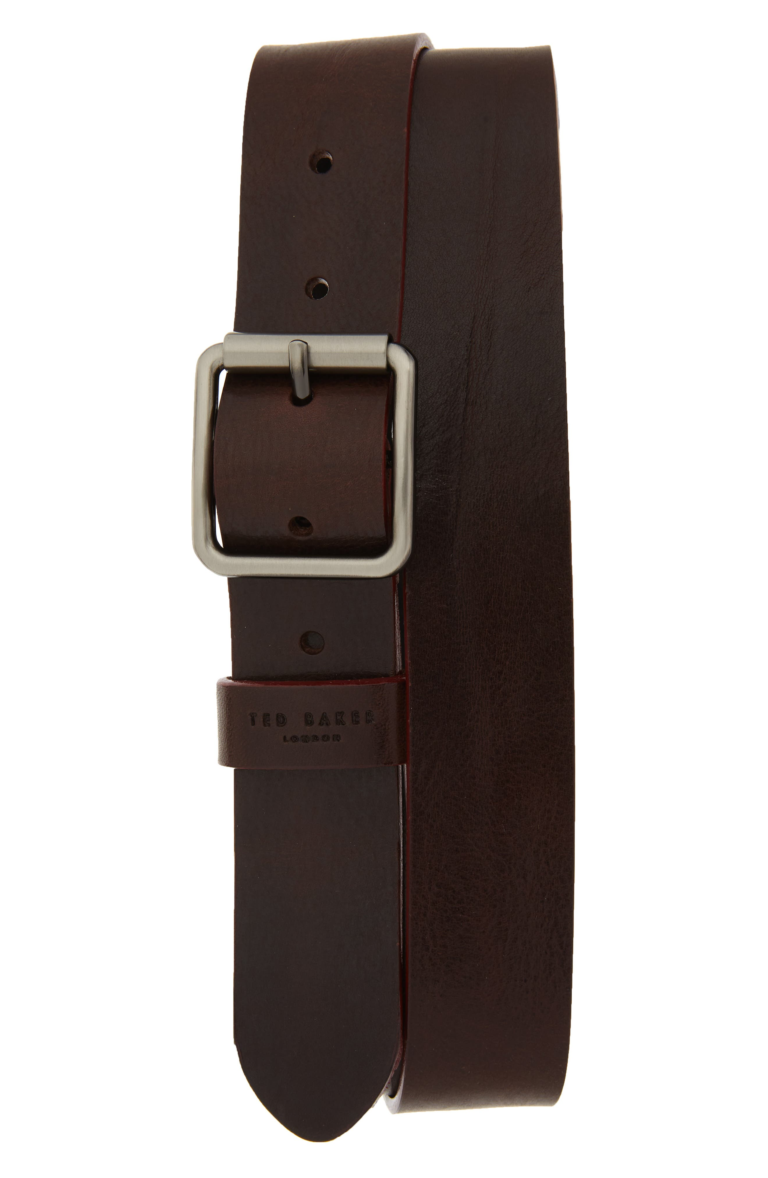 Ted Baker London Leather Belt, Chocolate