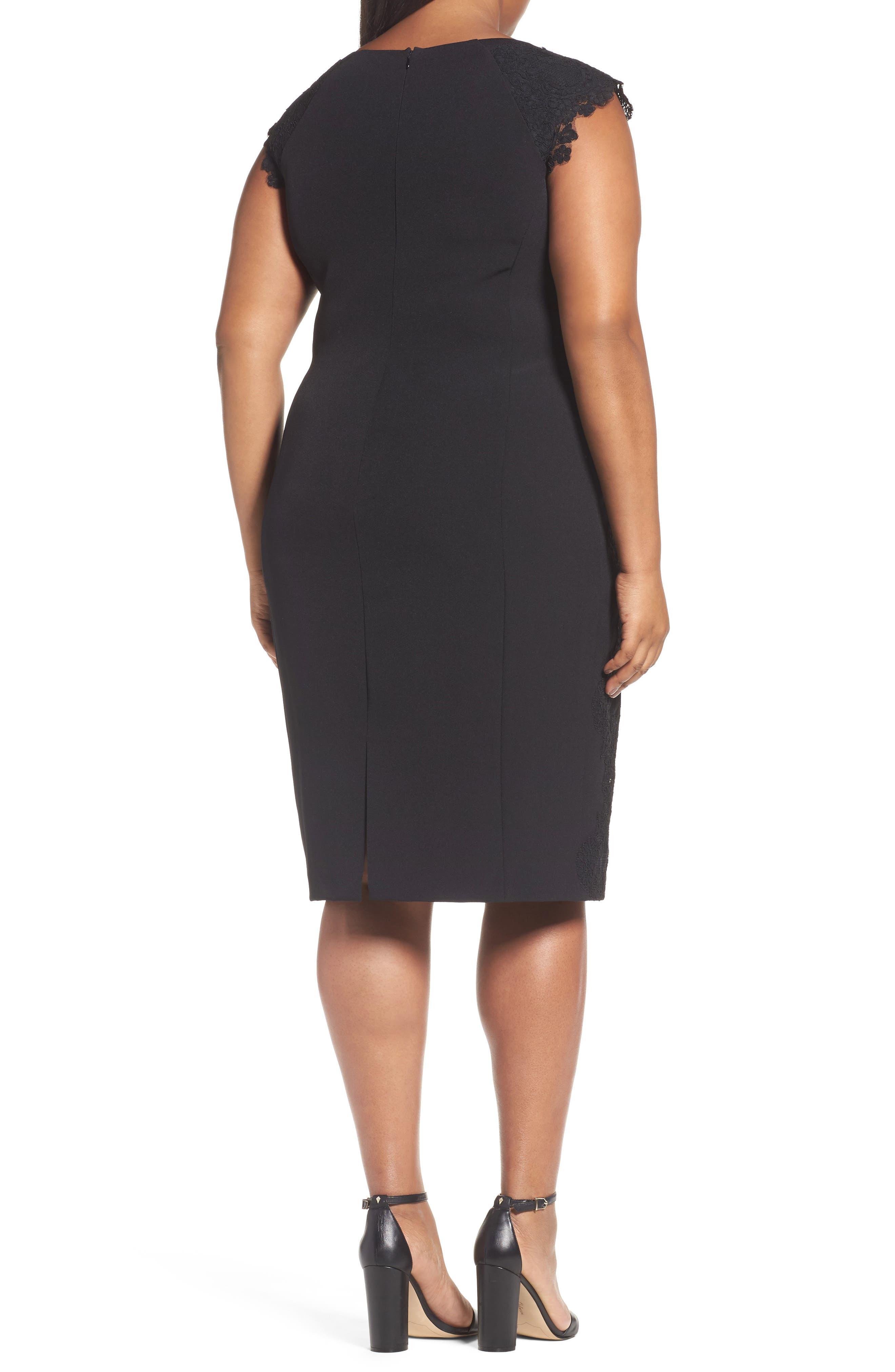 Lace Side Sheath Dress,                             Alternate thumbnail 2, color,                             001