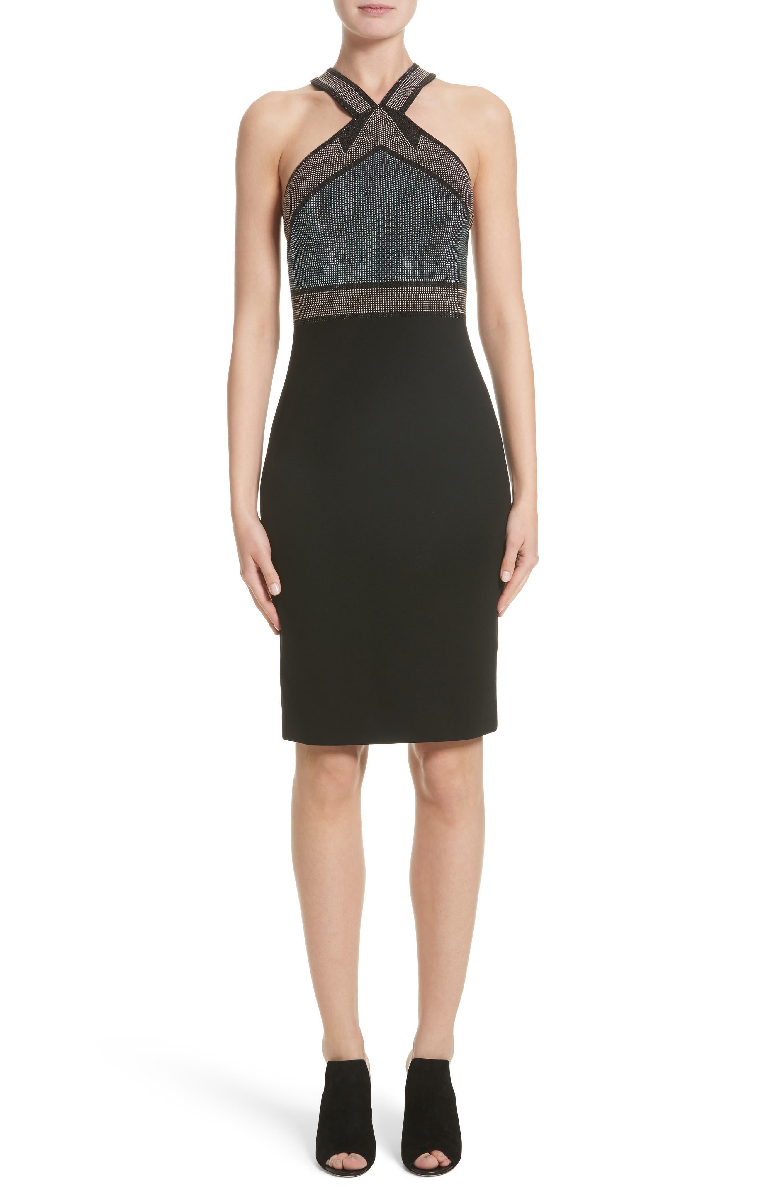 Rhinestone Halter Dress,                         Main,                         color, 001