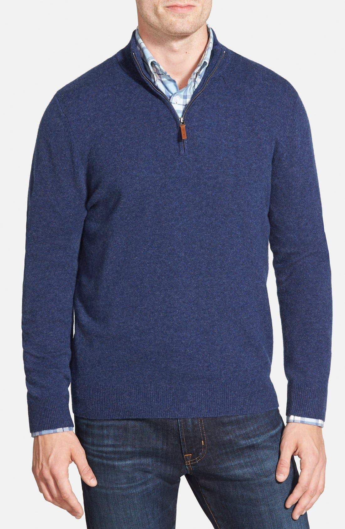 Cashmere Quarter Zip Sweater,                             Main thumbnail 9, color,