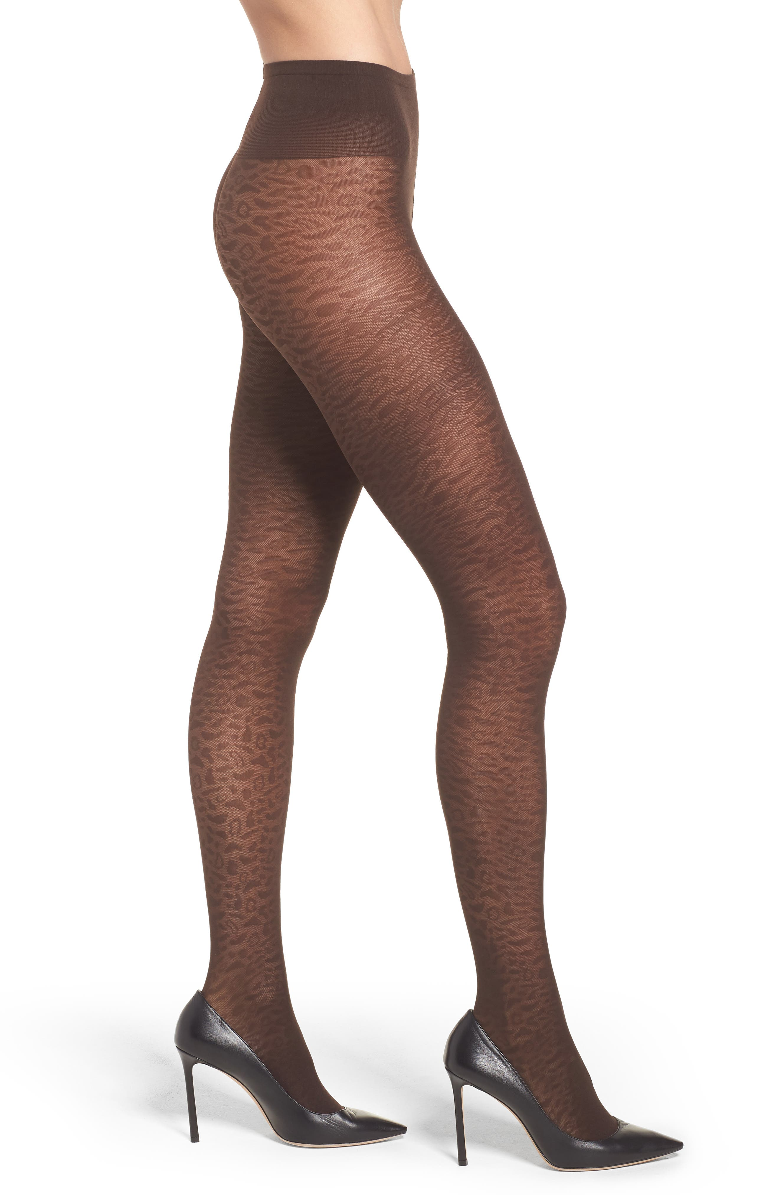 Emma Leopard Tights,                         Main,                         color, BROWN