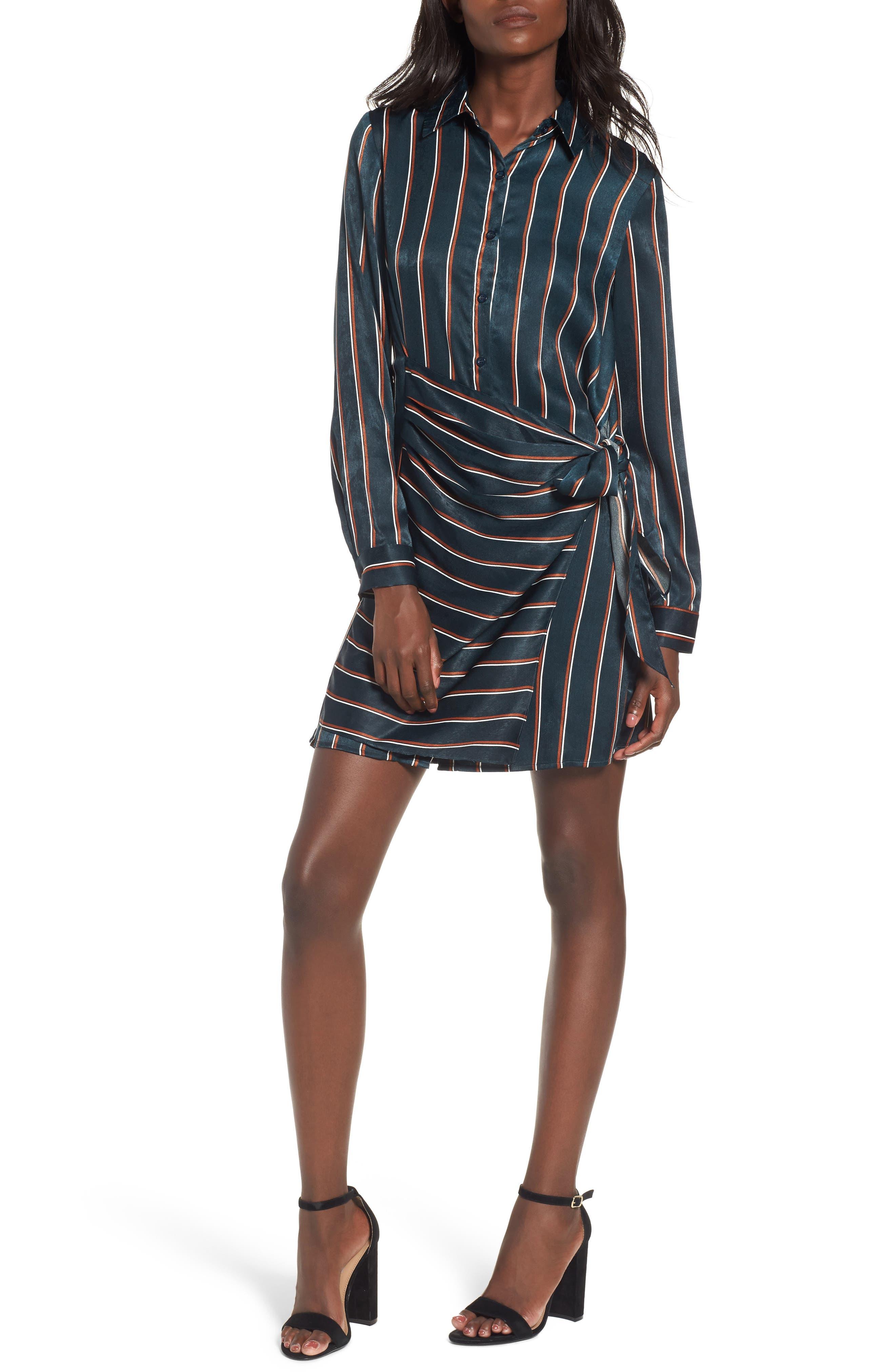 Tie Front Stripe Shirtdress,                             Main thumbnail 1, color,                             360