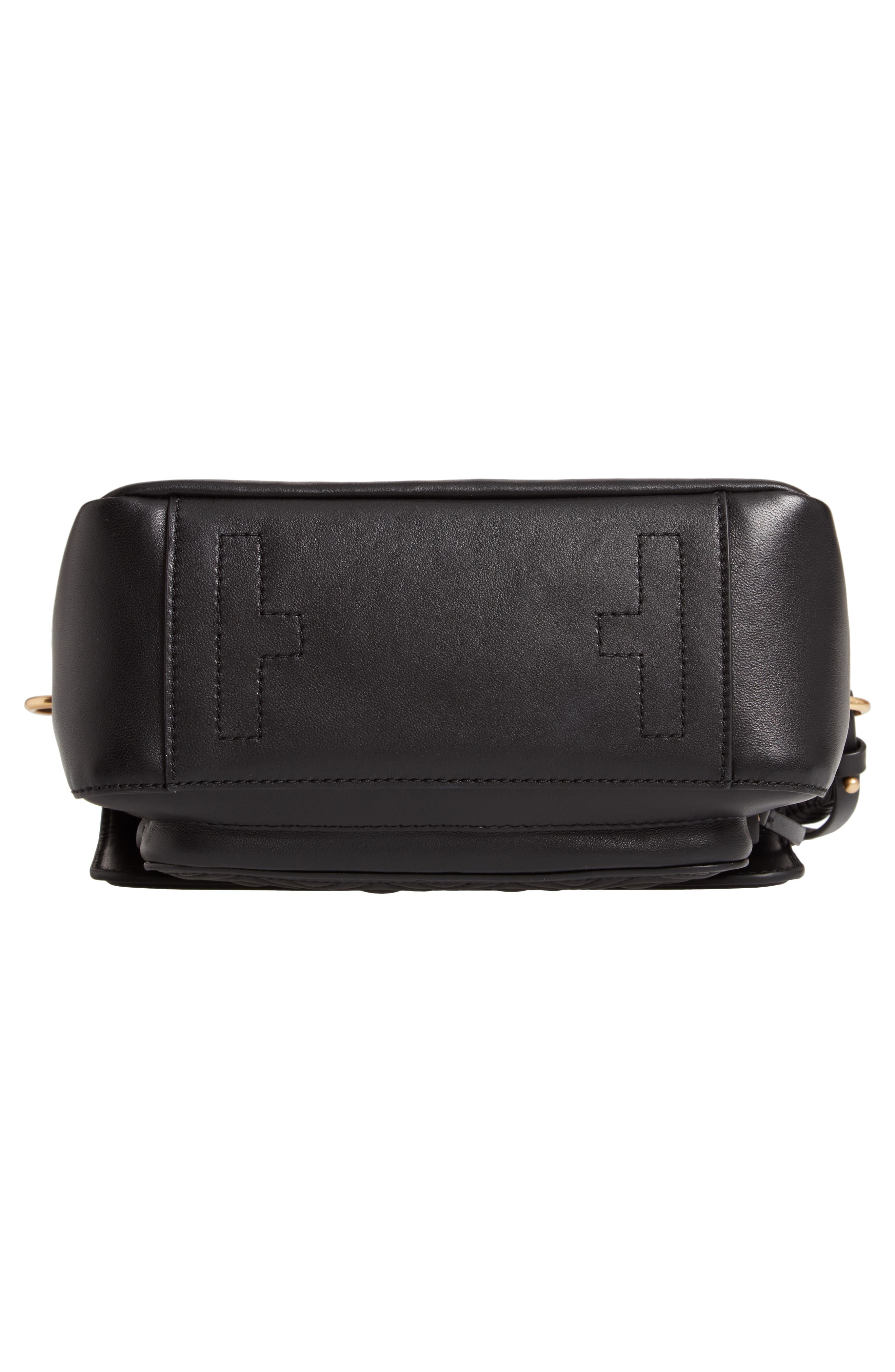 TORY BURCH,                             Fleming Quilted Leather Top Handle Satchel,                             Alternate thumbnail 6, color,                             BLACK