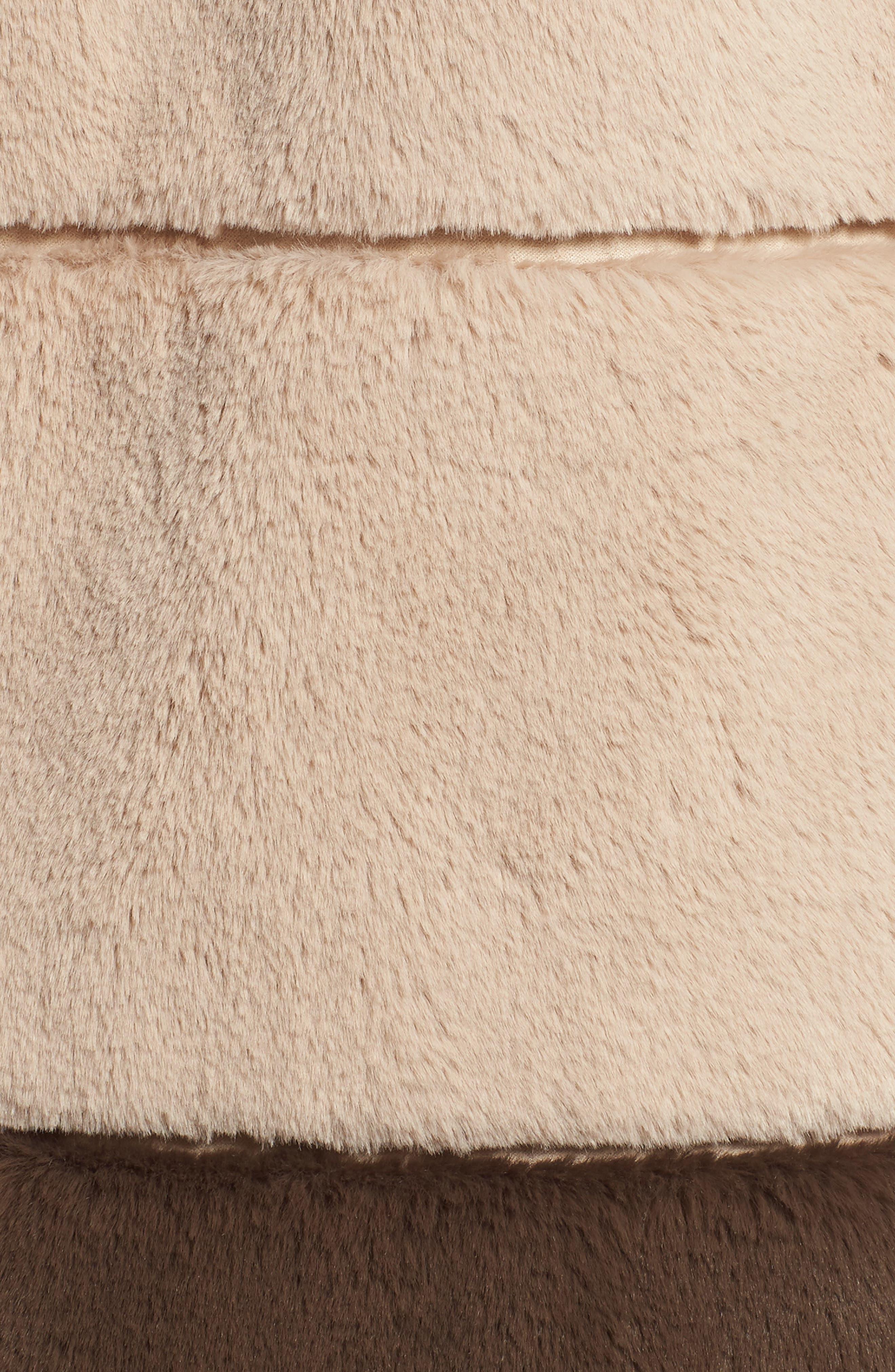 Colorblock Panel Faux Fur Jacket,                             Alternate thumbnail 6, color,                             BEIGE/ BROWN