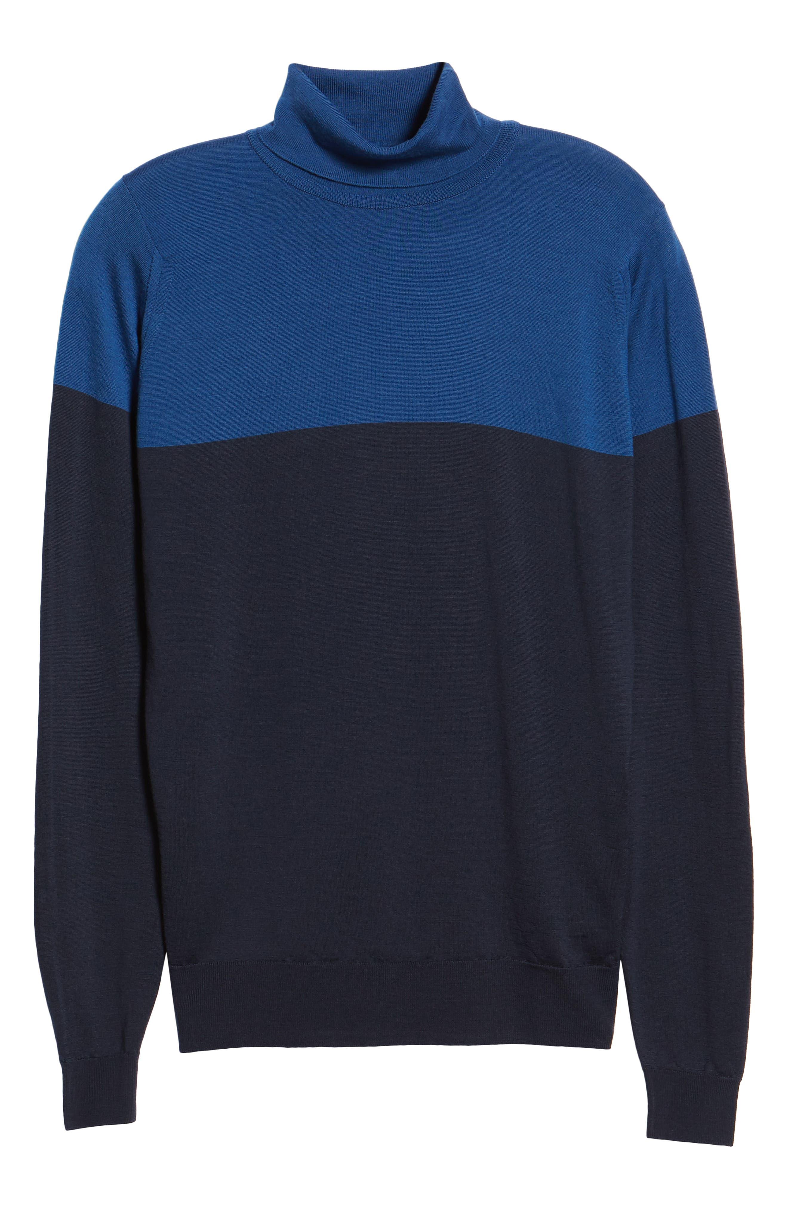 Slim Fit Colorblock Merino Wool Turtleneck Sweater,                             Alternate thumbnail 6, color,                             MIDNIGHT