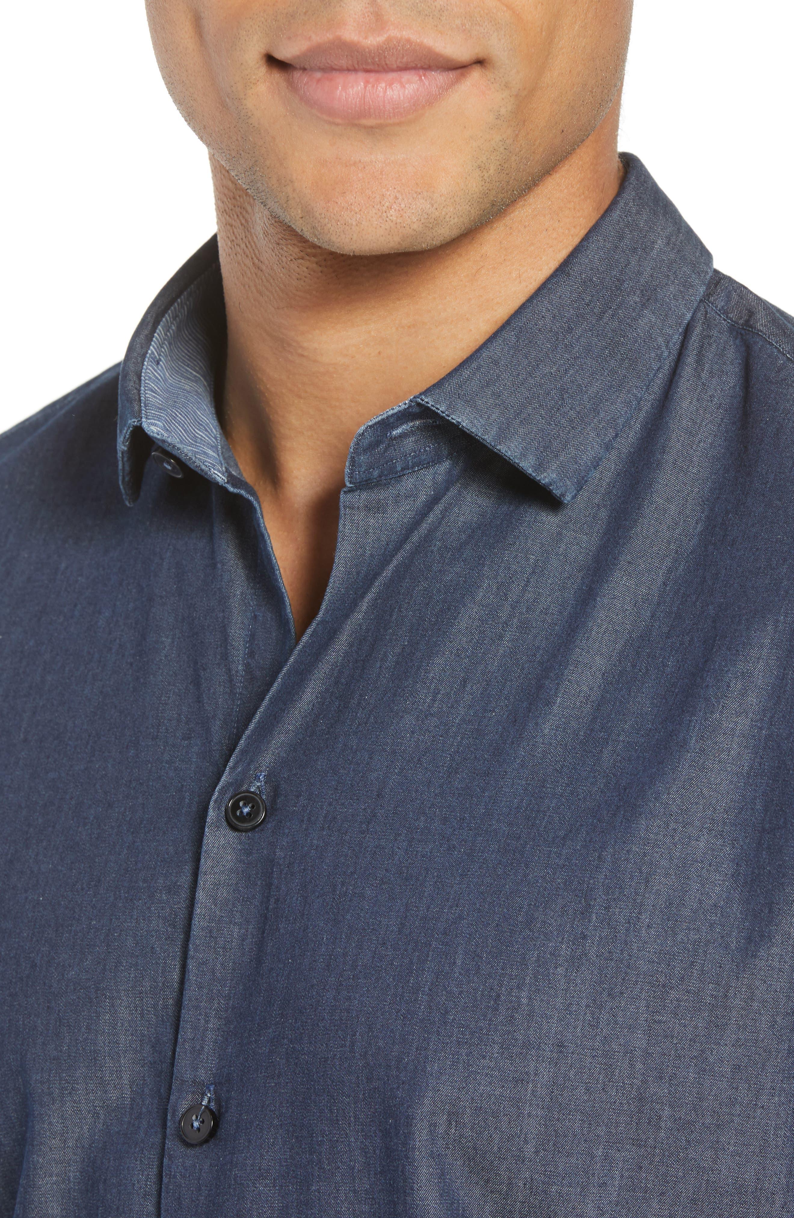 ZACHARY PRELL,                             Manolis Denim Sport Shirt,                             Alternate thumbnail 4, color,                             471