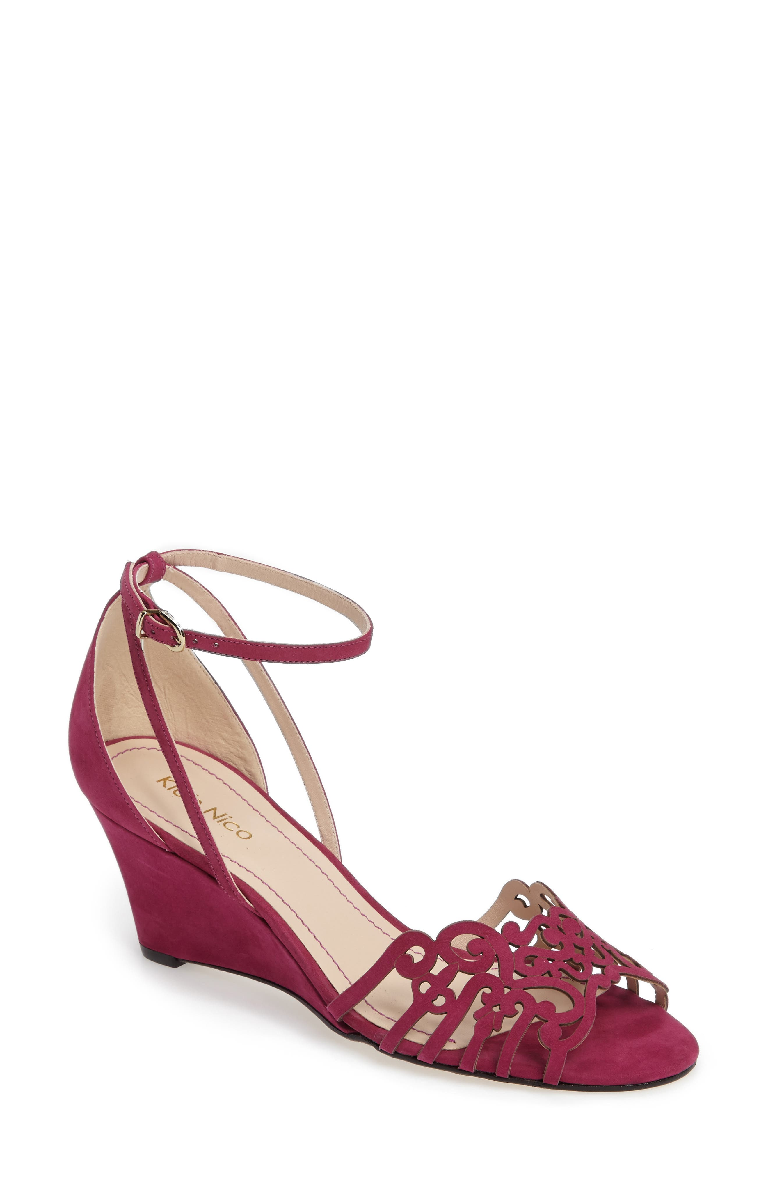 'Kingston' Ankle Strap Wedge Sandal,                             Main thumbnail 1, color,                             MAGENTA LEATHER