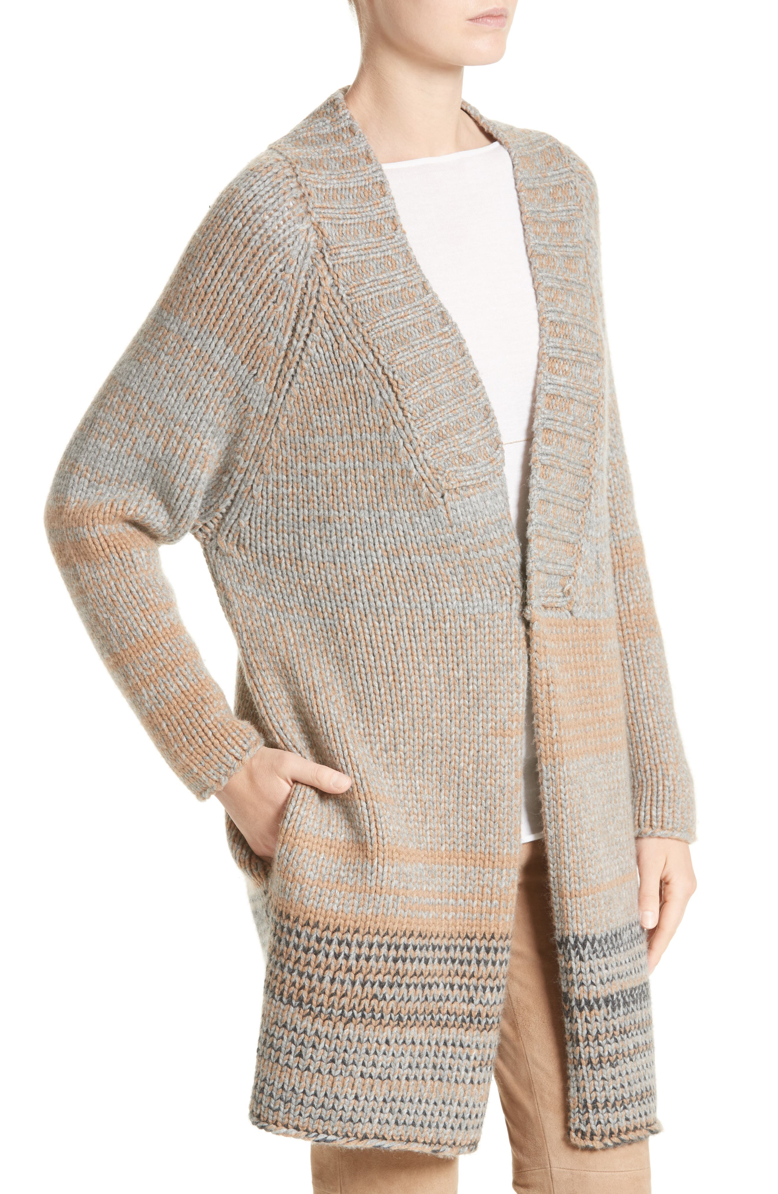 Cashmere Cardigan with Removable Genuine Fox Fur Collar,                             Alternate thumbnail 5, color,