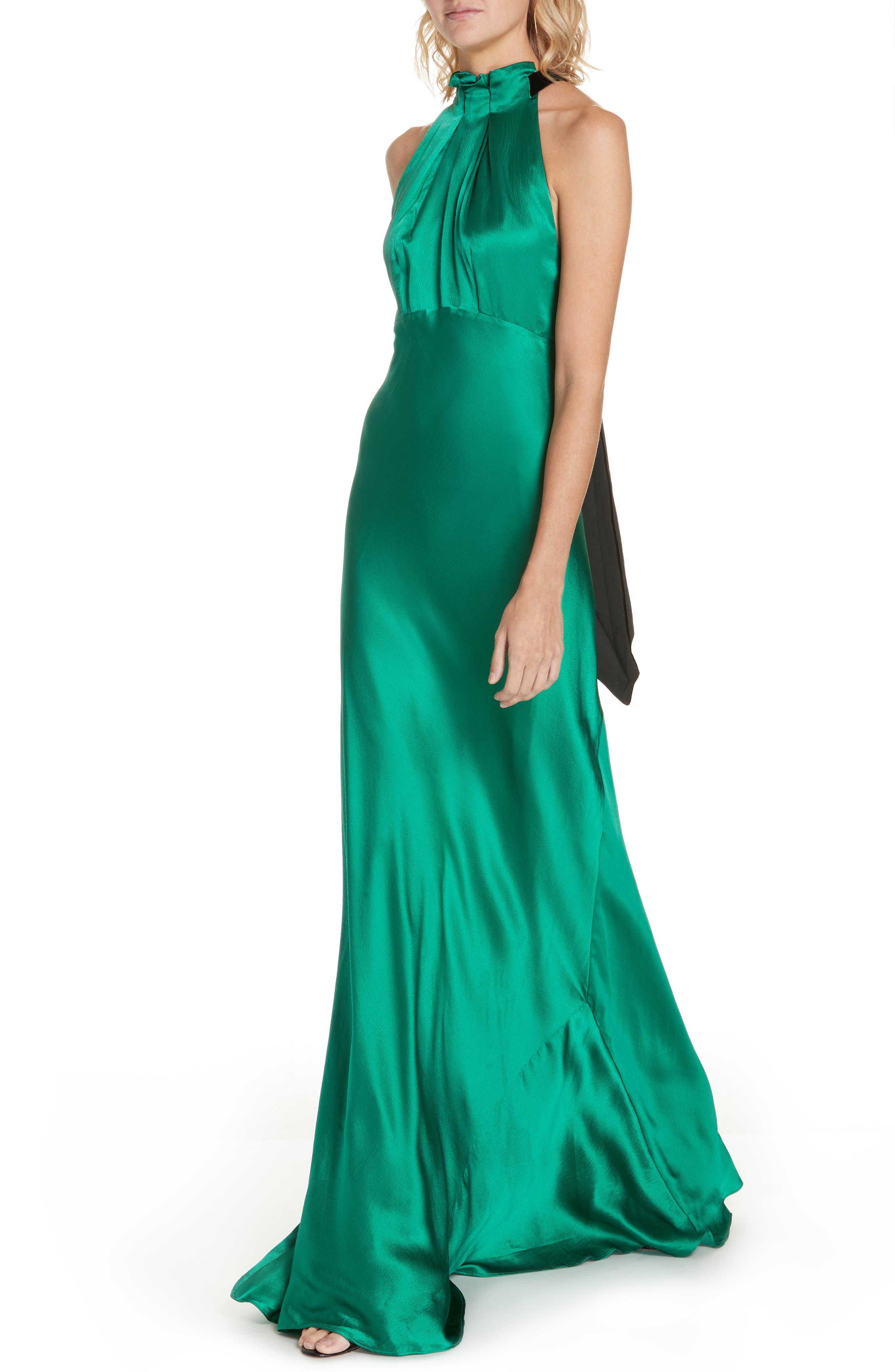 Michelle Velvet Bow Silk Halter Gown,                             Alternate thumbnail 4, color,                             EMERALD GREEN