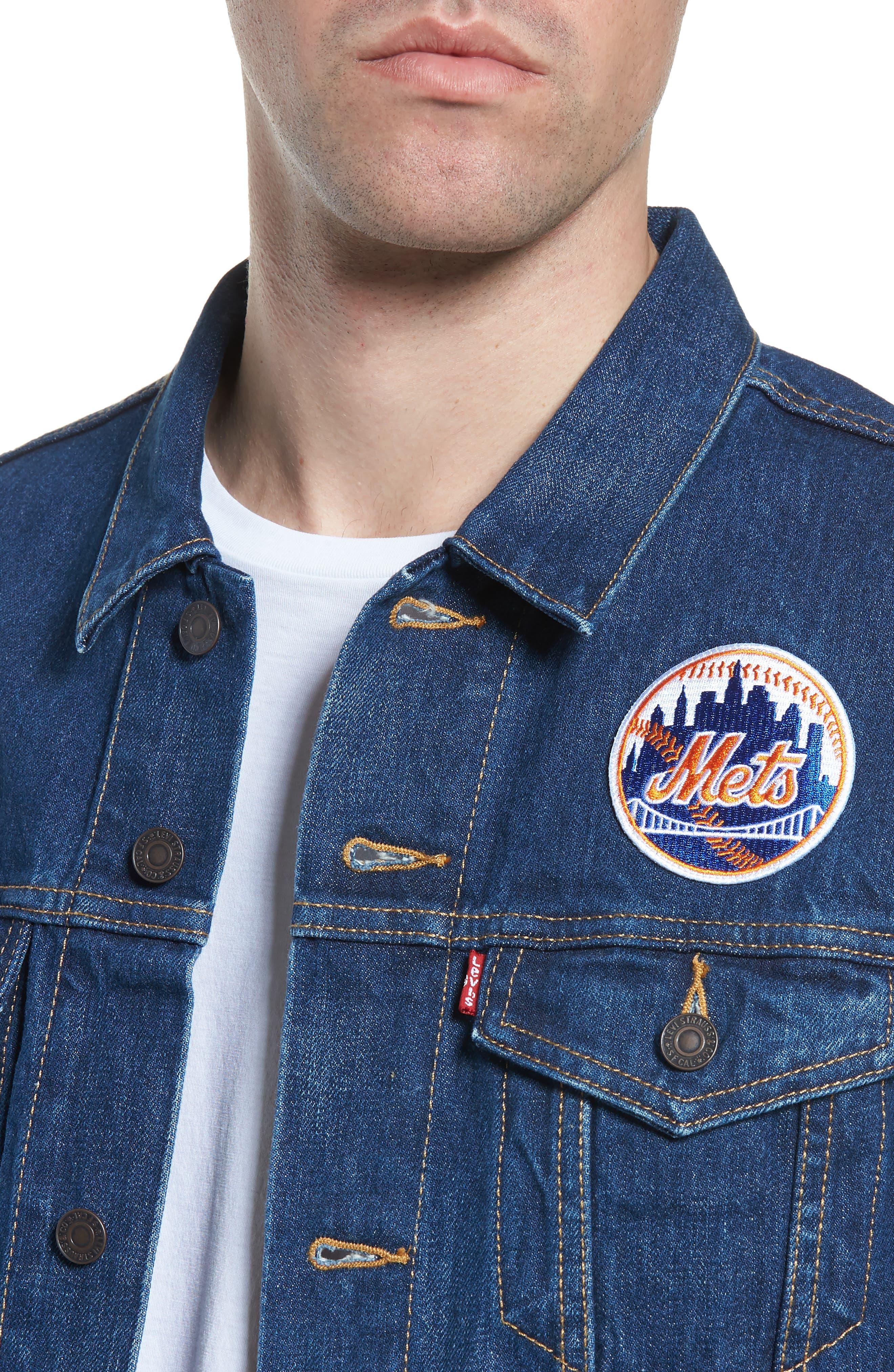 MLB Mets Denim Trucker Jacket,                             Alternate thumbnail 4, color,                             METS