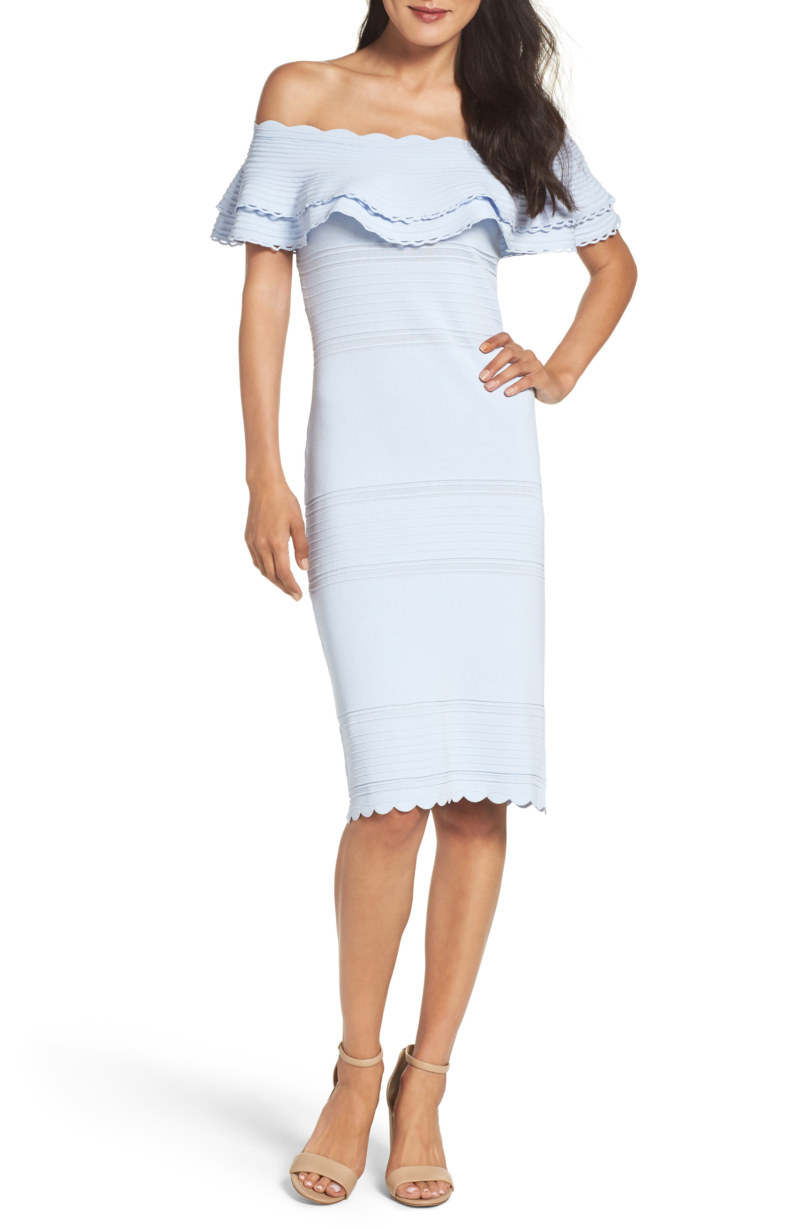 Eliza J Off The Shoulder Ruffle Sheath Dress, Blue