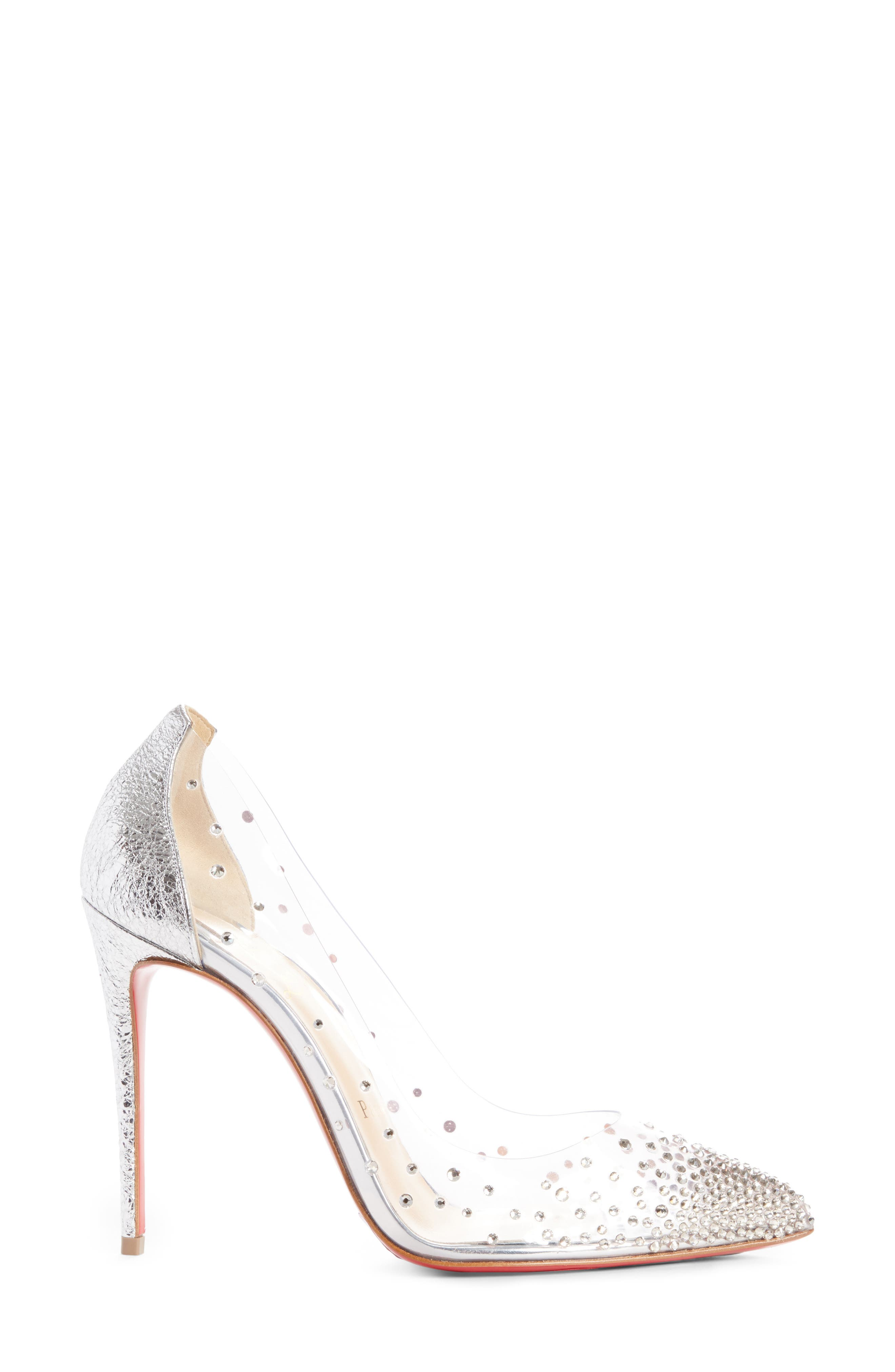 CHRISTIAN LOUBOUTIN,                             Degrastrass Clear Embellished Pump,                             Alternate thumbnail 3, color,                             042