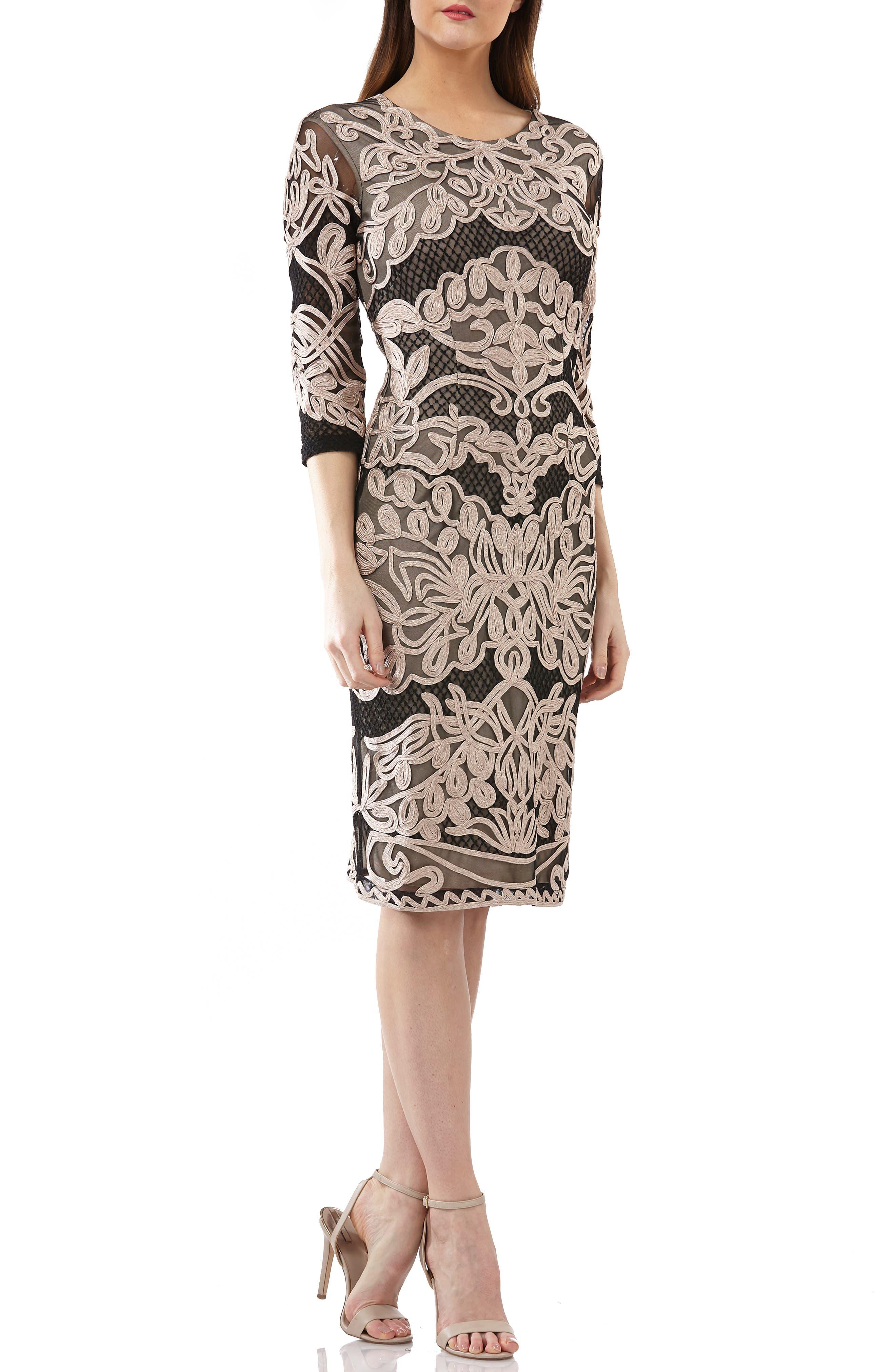 Soutache Sheath Dress,                         Main,                         color, CHAMPAGNE/ BLACK