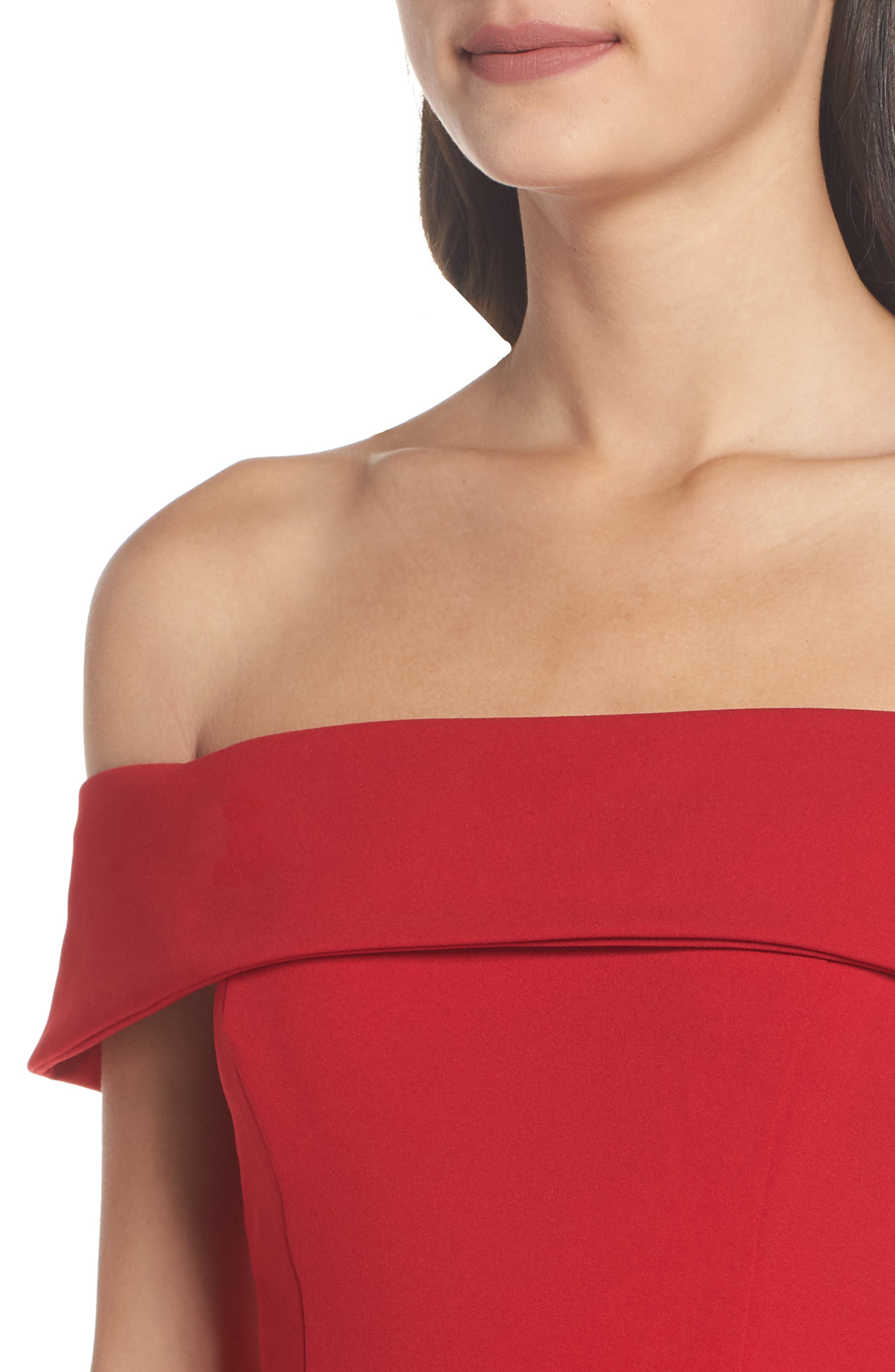 Off the Shoulder Mermaid Gown,                             Alternate thumbnail 4, color,                             RED