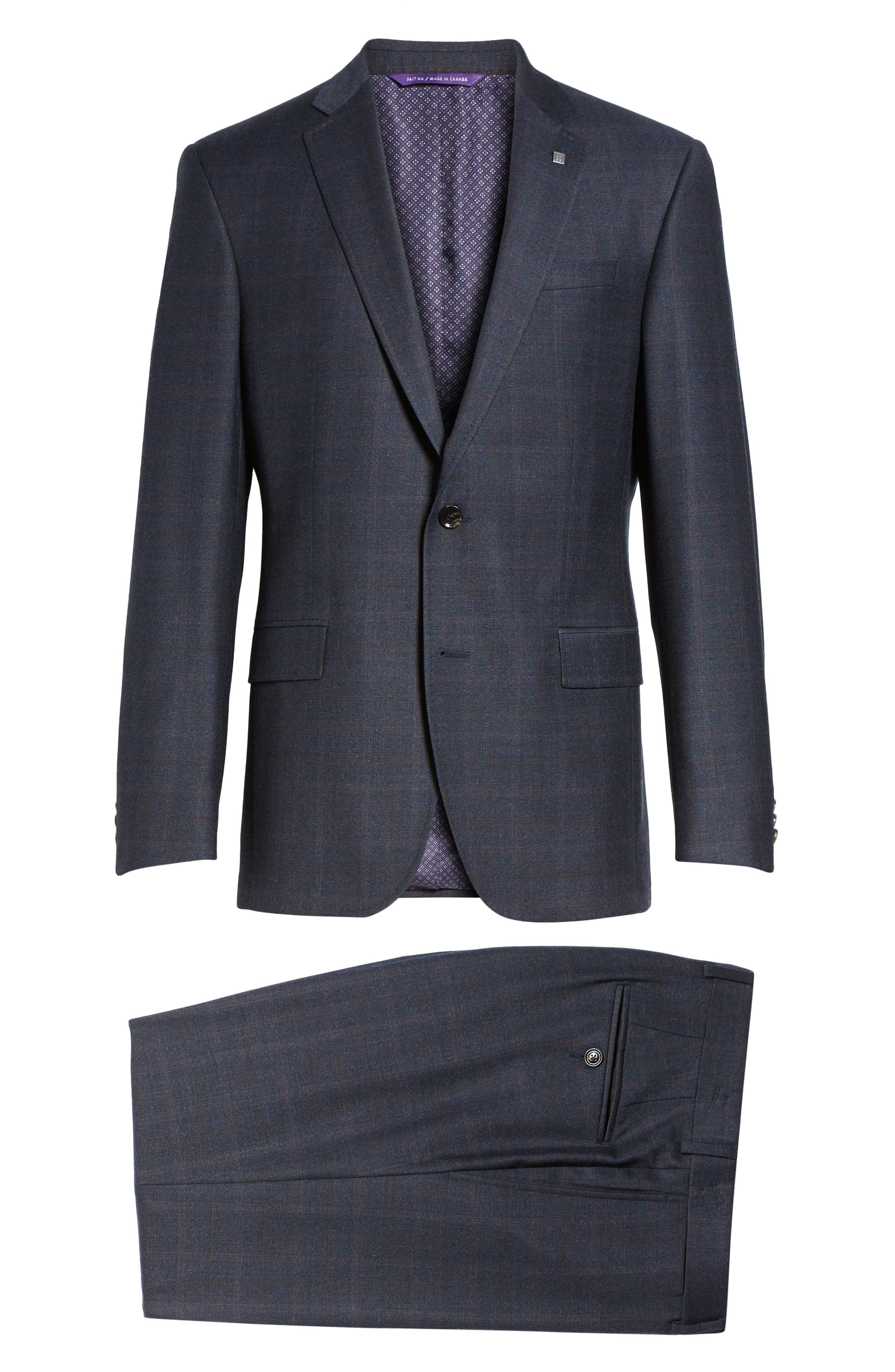 Jay Trim Fit Plaid Wool Suit,                             Alternate thumbnail 8, color,