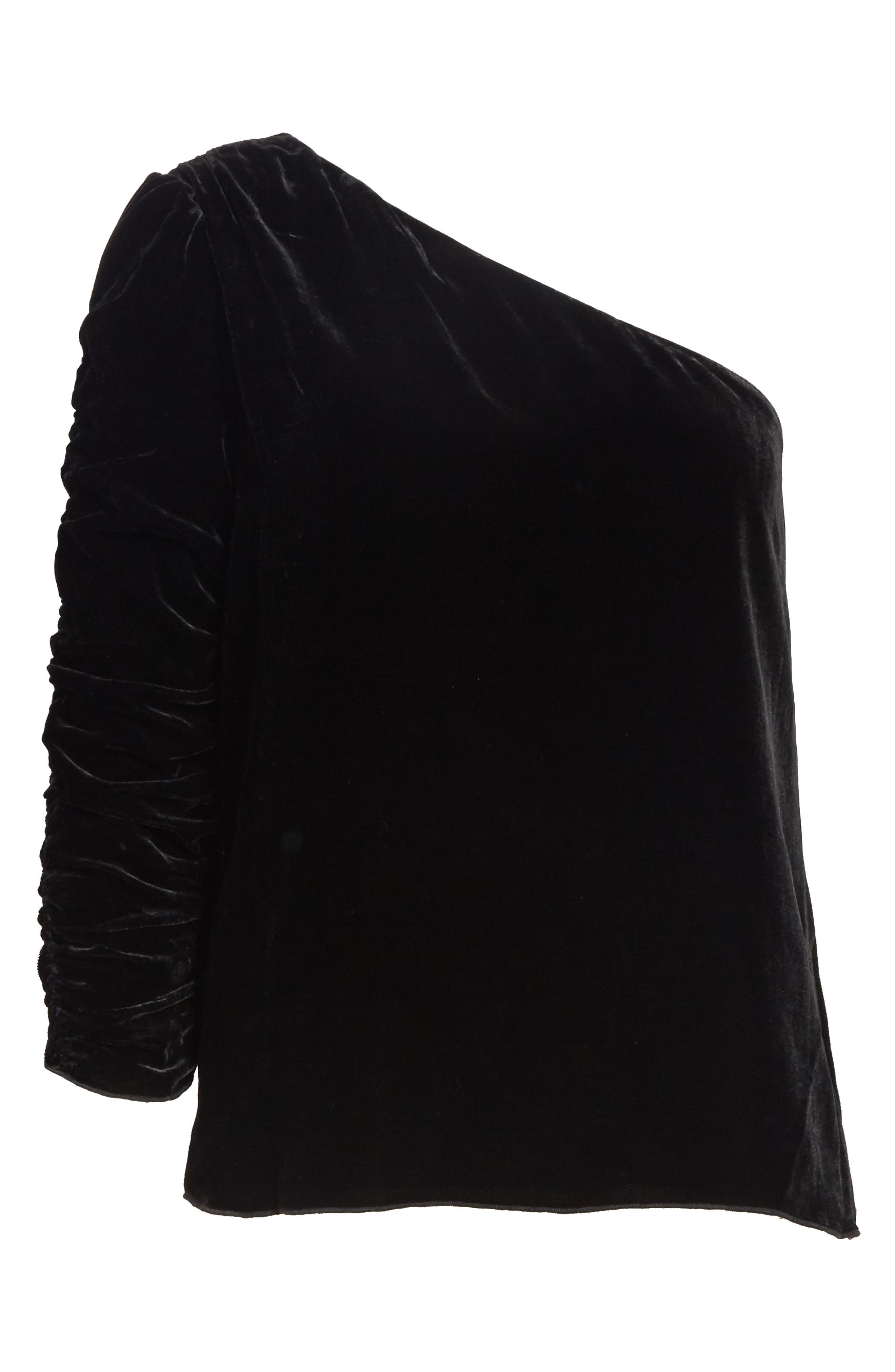 One-Shoulder Velvet Top,                             Alternate thumbnail 6, color,                             002